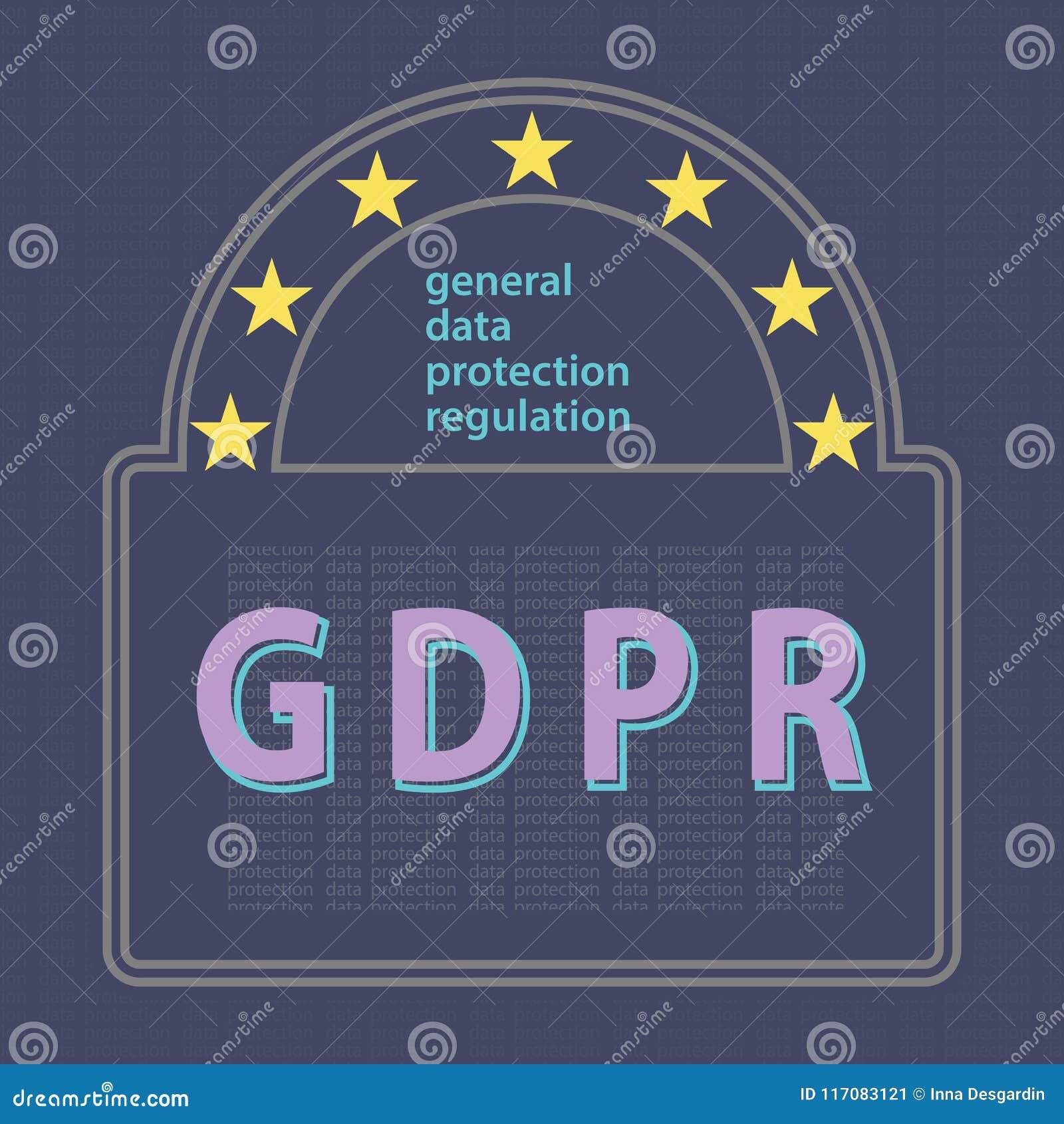 GDPR ogólnych dane ochrony pojęcia wektoru przepisowy illustrat