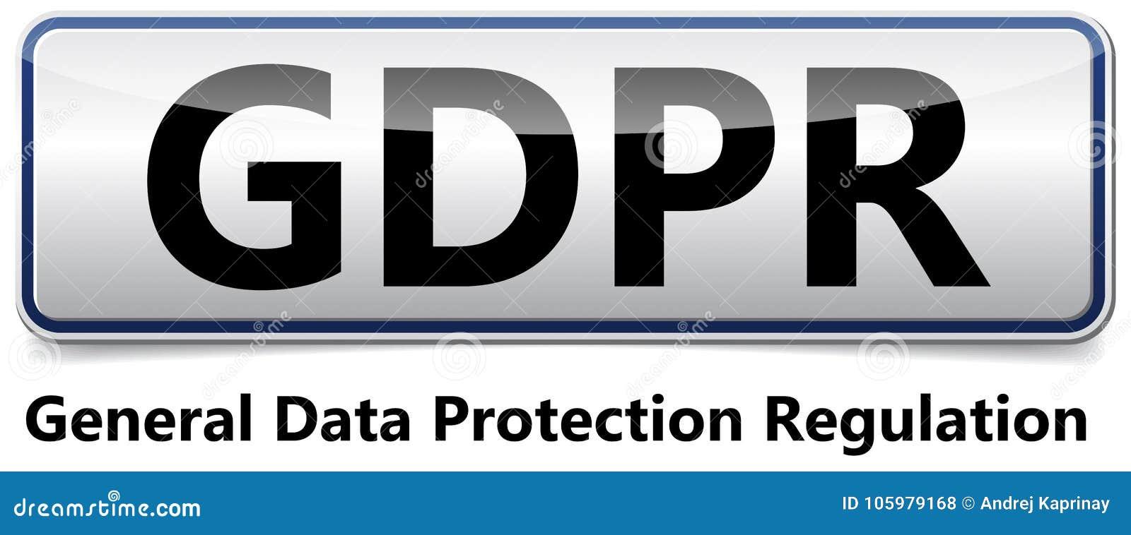 GDPR - Regulación general de la protección de datos Bandera brillante con sh