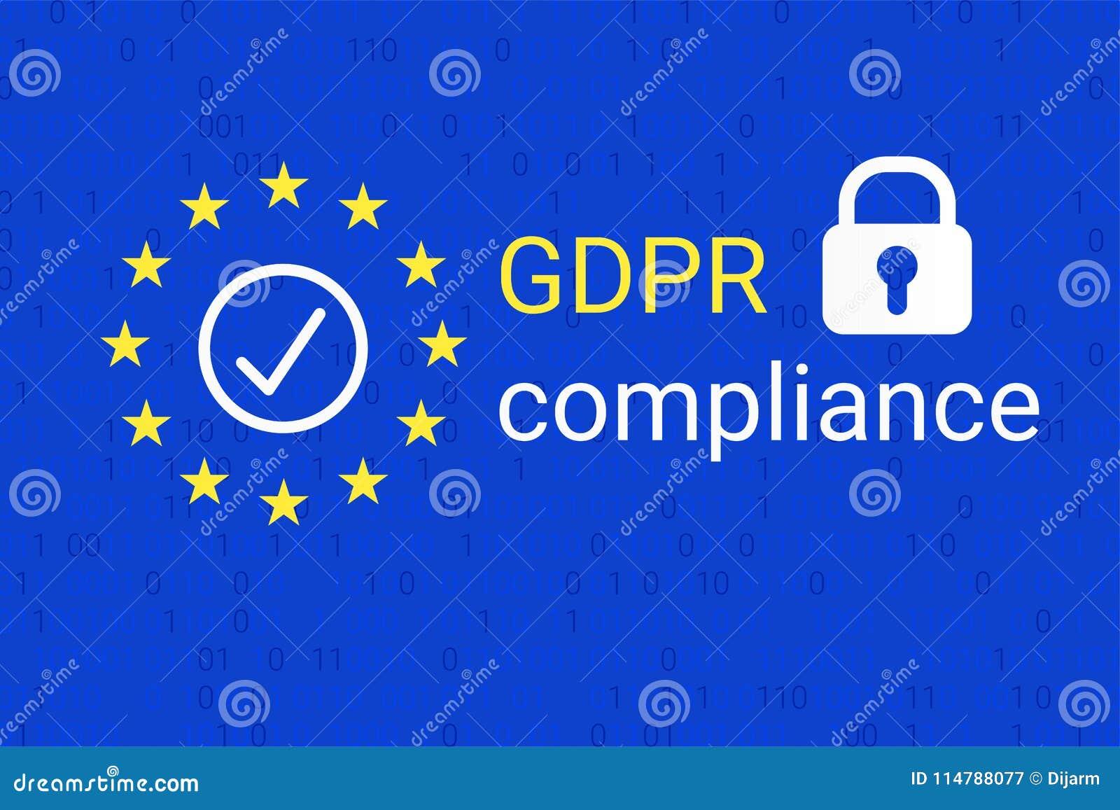 GDPR - Regulamento geral da proteção de dados Símbolo da conformidade de GDPR Vetor