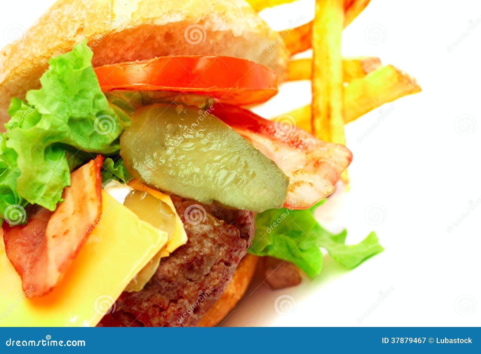 Geëxplodeerde mening van hamburger