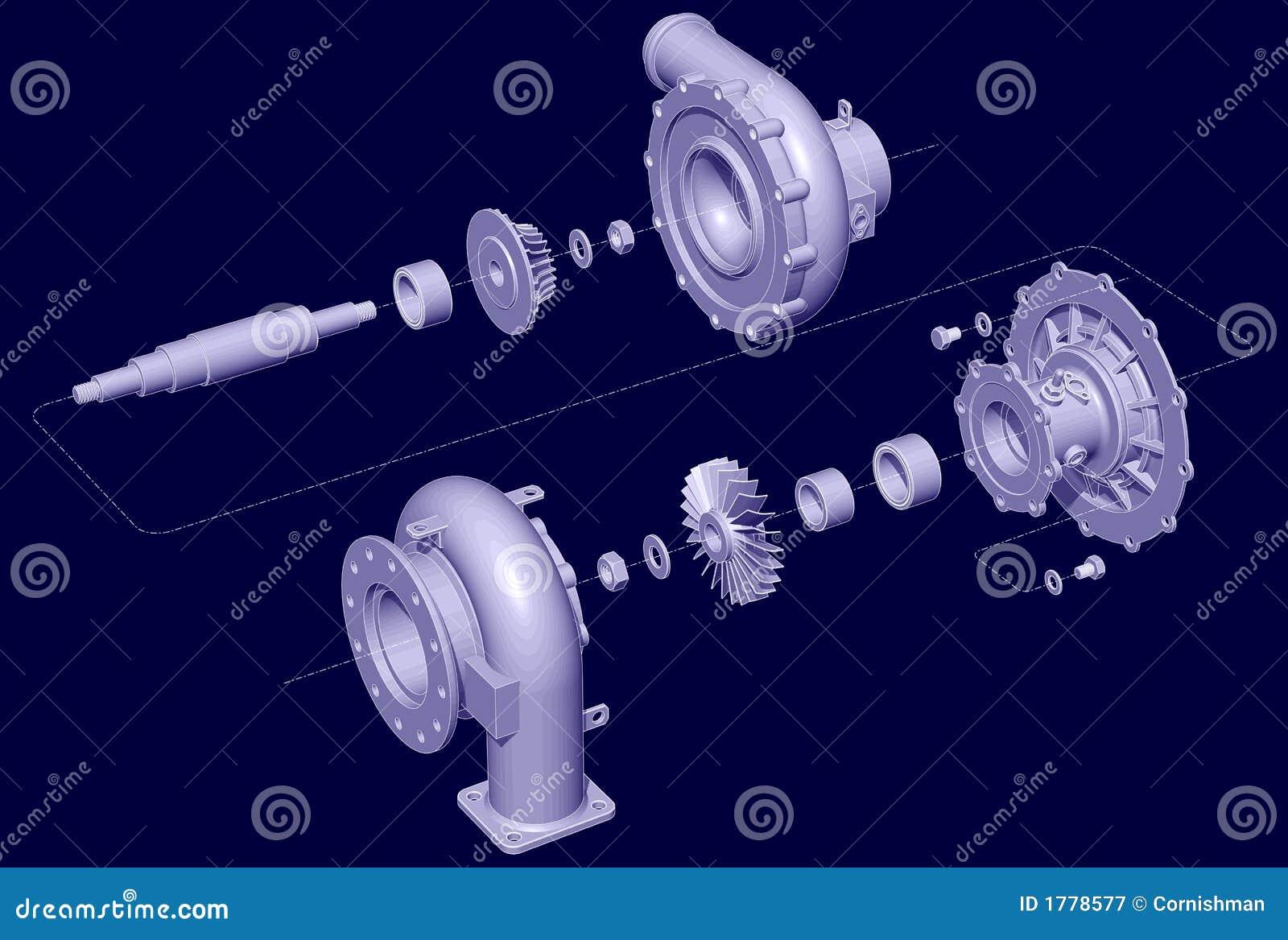 Geëxplodeerdem Turbocompressor