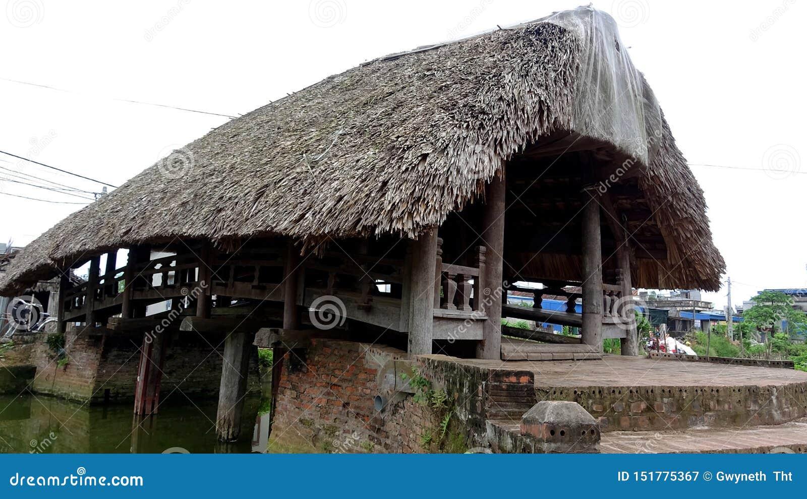 Geïmponeerd door de oude die brug van ironwood met bladdaken wordt gemaakt