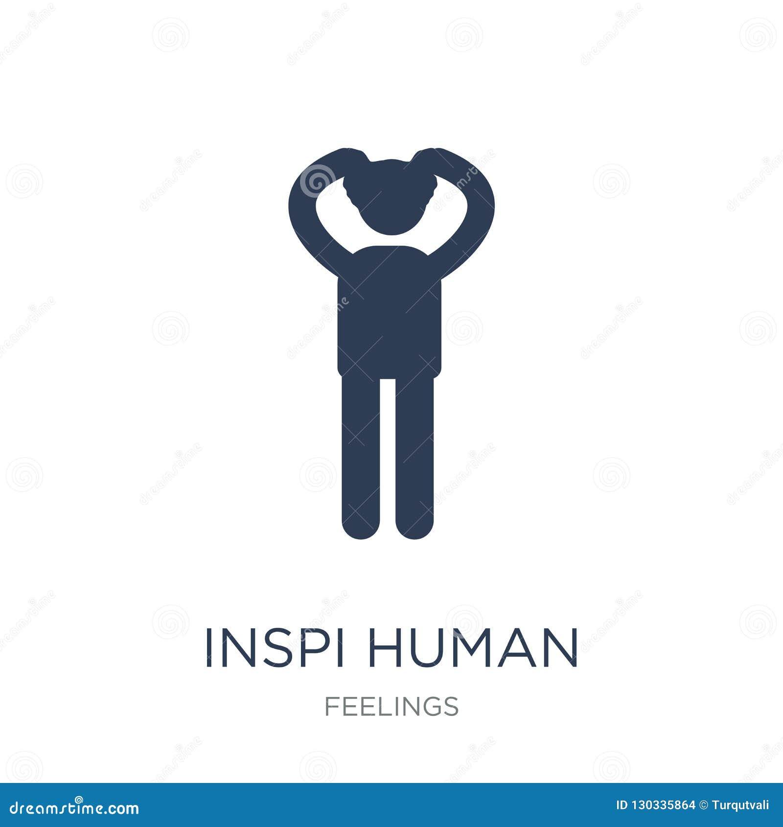 Geïnspireerd menselijk pictogram De in vlakke vector inspireerde menselijk pictogram op w