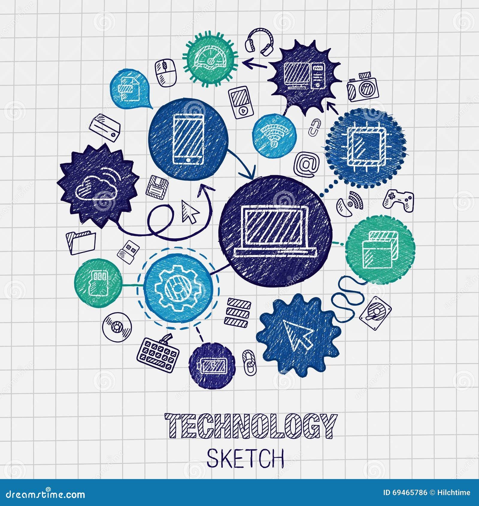 Geïntegreerde de schetspictogrammen van de technologiehand tekening