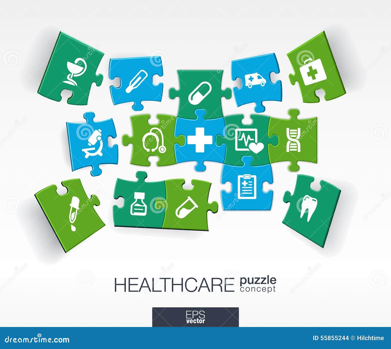 Geïntegreerde vlakke pictogrammen 3d infographic concept met medisch, gezondheid, gezondheidszorg, dwarsstukken in perspectief