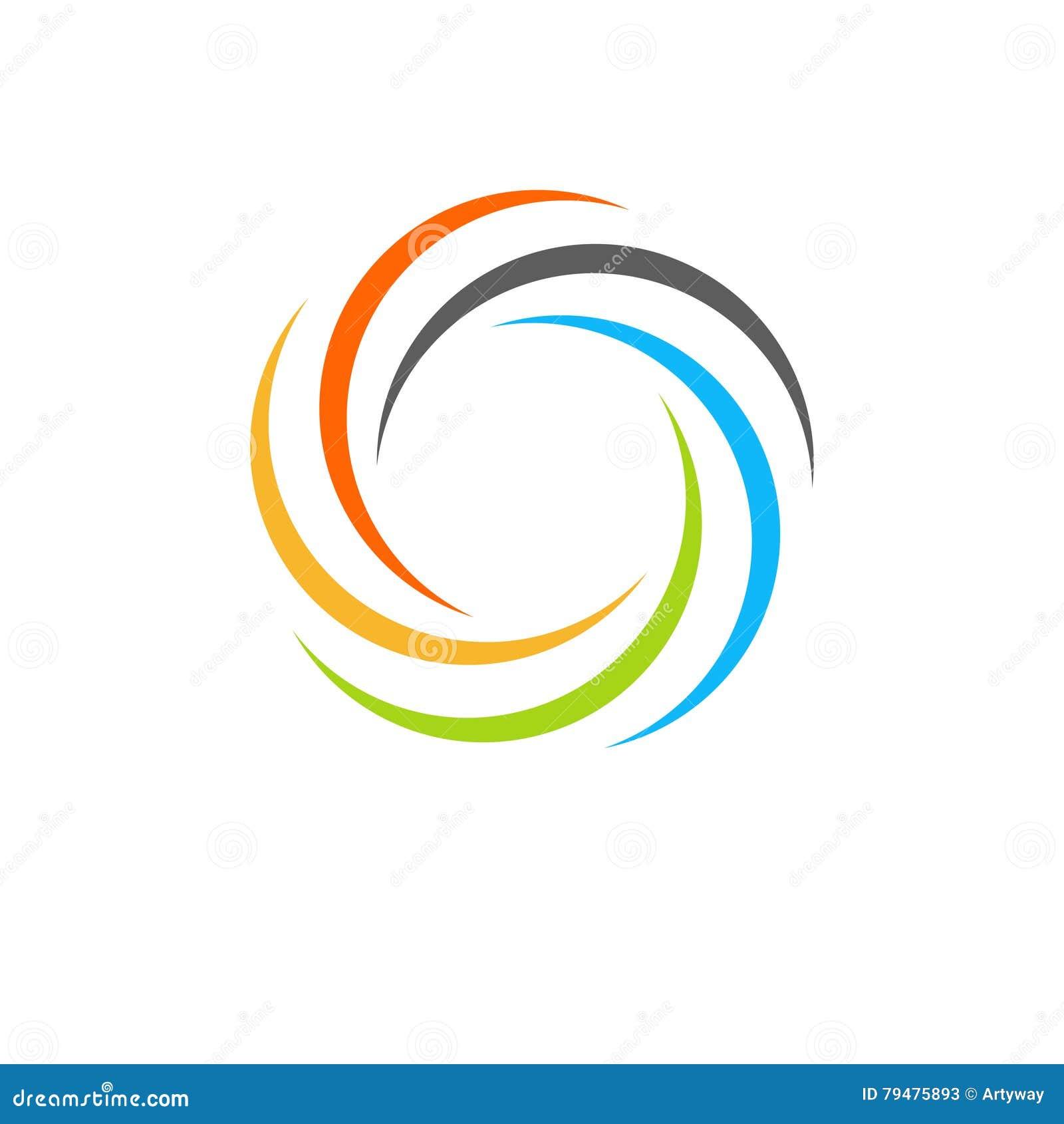 Geïsoleerd abstract kleurrijk cirkelzonembleem Ronde vormregenboog logotype Werveling, tornado en orkaanpictogram Spining