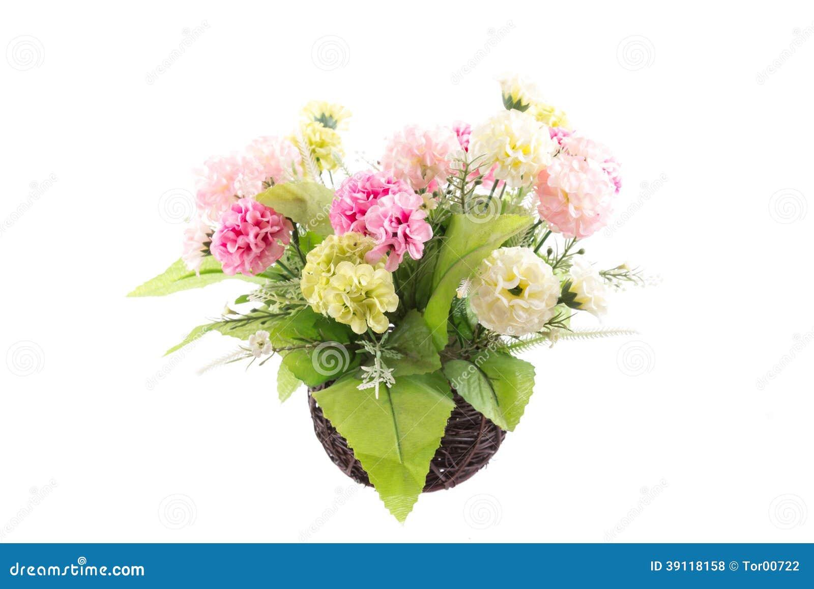Geïsoleerd beeld van de valse bloem met vaas op witte achtergrond