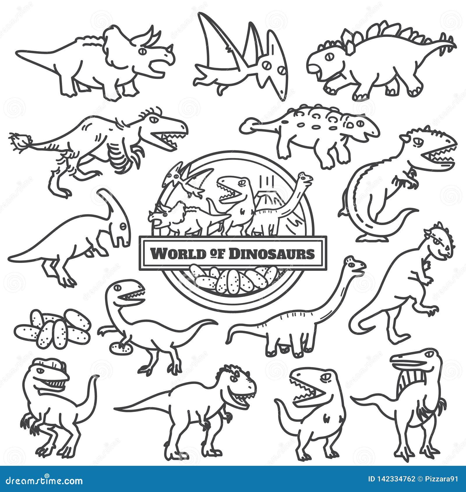 Geïsoleerd dinosaurussenpictogram de beeldverhaalkarakters ontwerpen