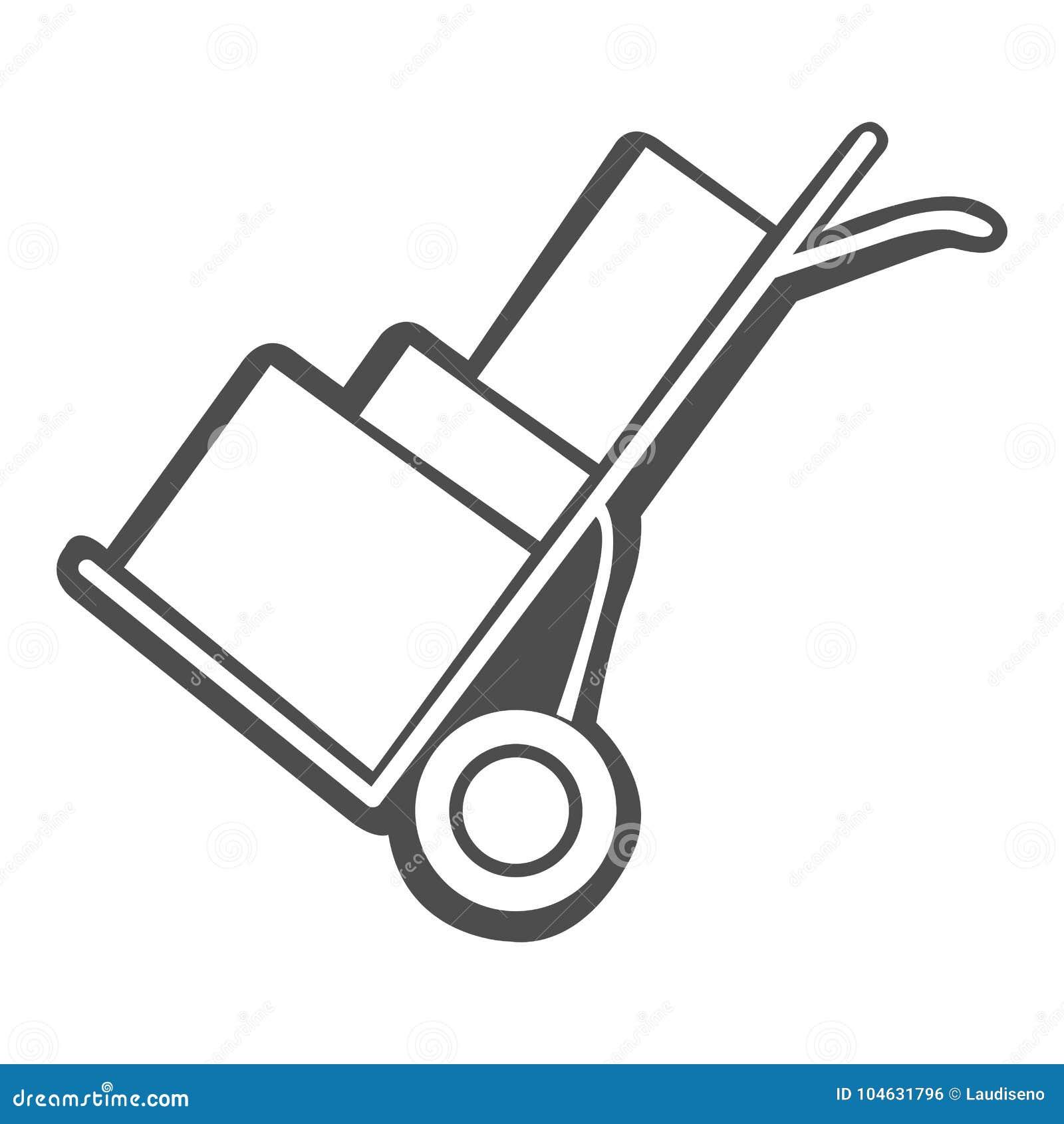 Download Geïsoleerd Karretjepictogram Vector Illustratie - Illustratie bestaande uit lading, zwart: 104631796