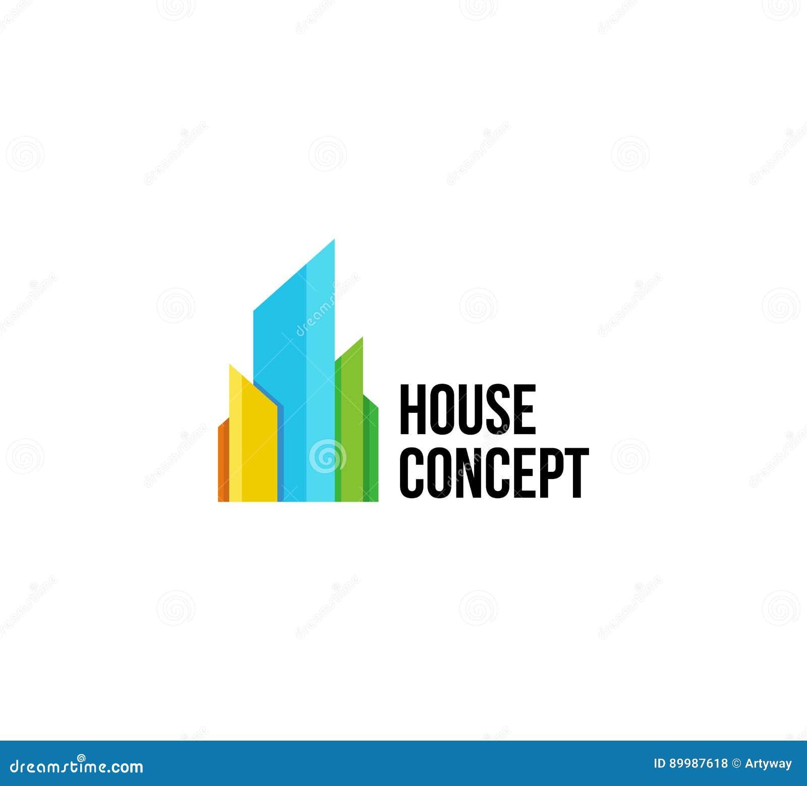 Geïsoleerd kleurrijk makelaardijembleem, huis logotype op wit, het pictogram van het huisconcept, wolkenkrabber vectorillustratie