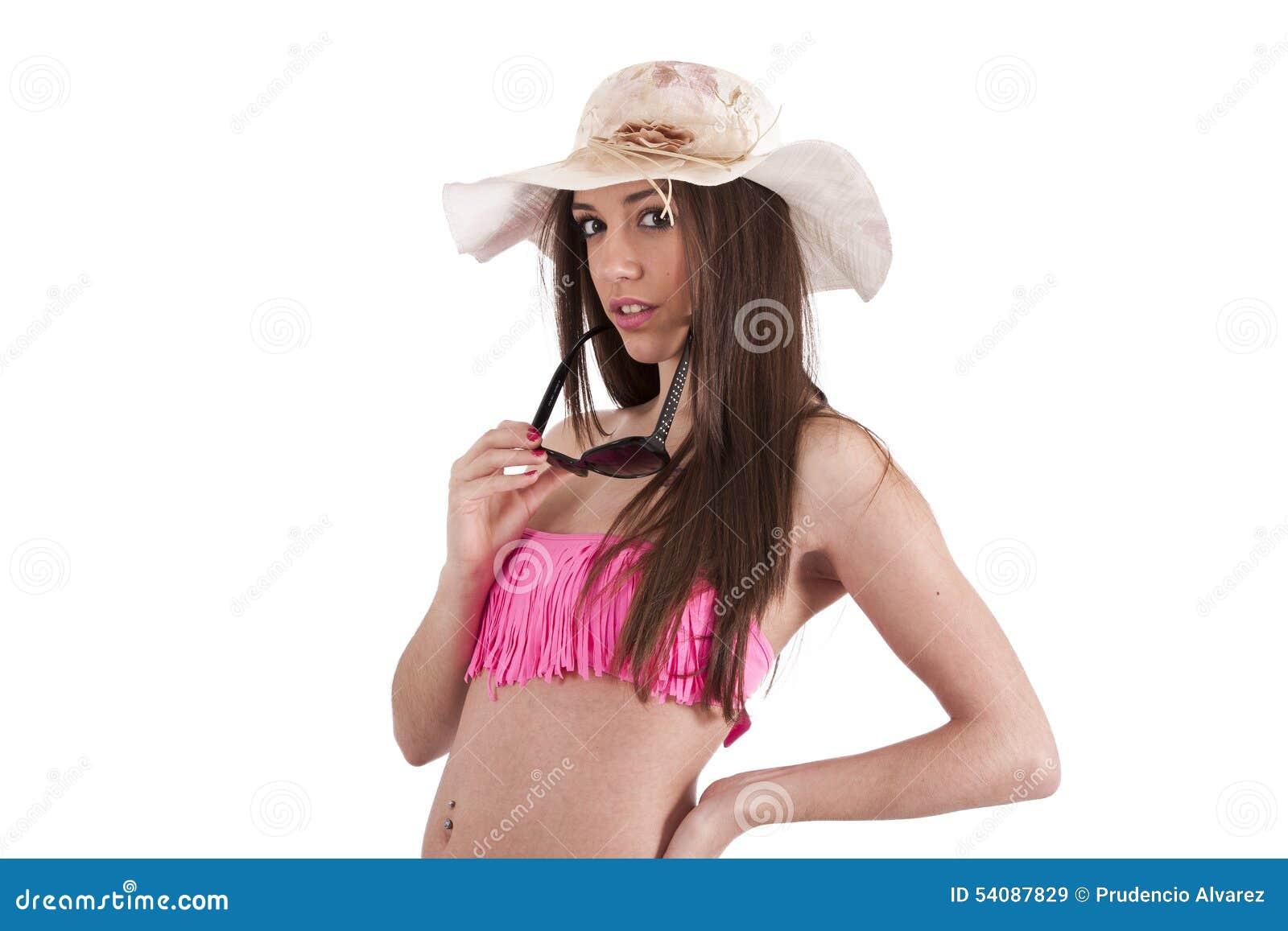 Geïsoleerd meisje in bikini