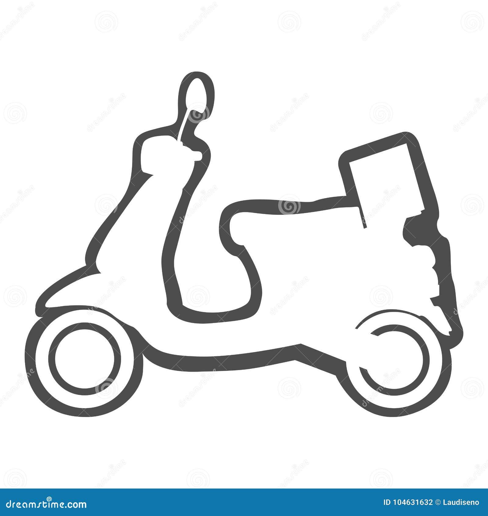 Download Geïsoleerd Motorfietspictogram Vector Illustratie - Illustratie bestaande uit doos, scooter: 104631632