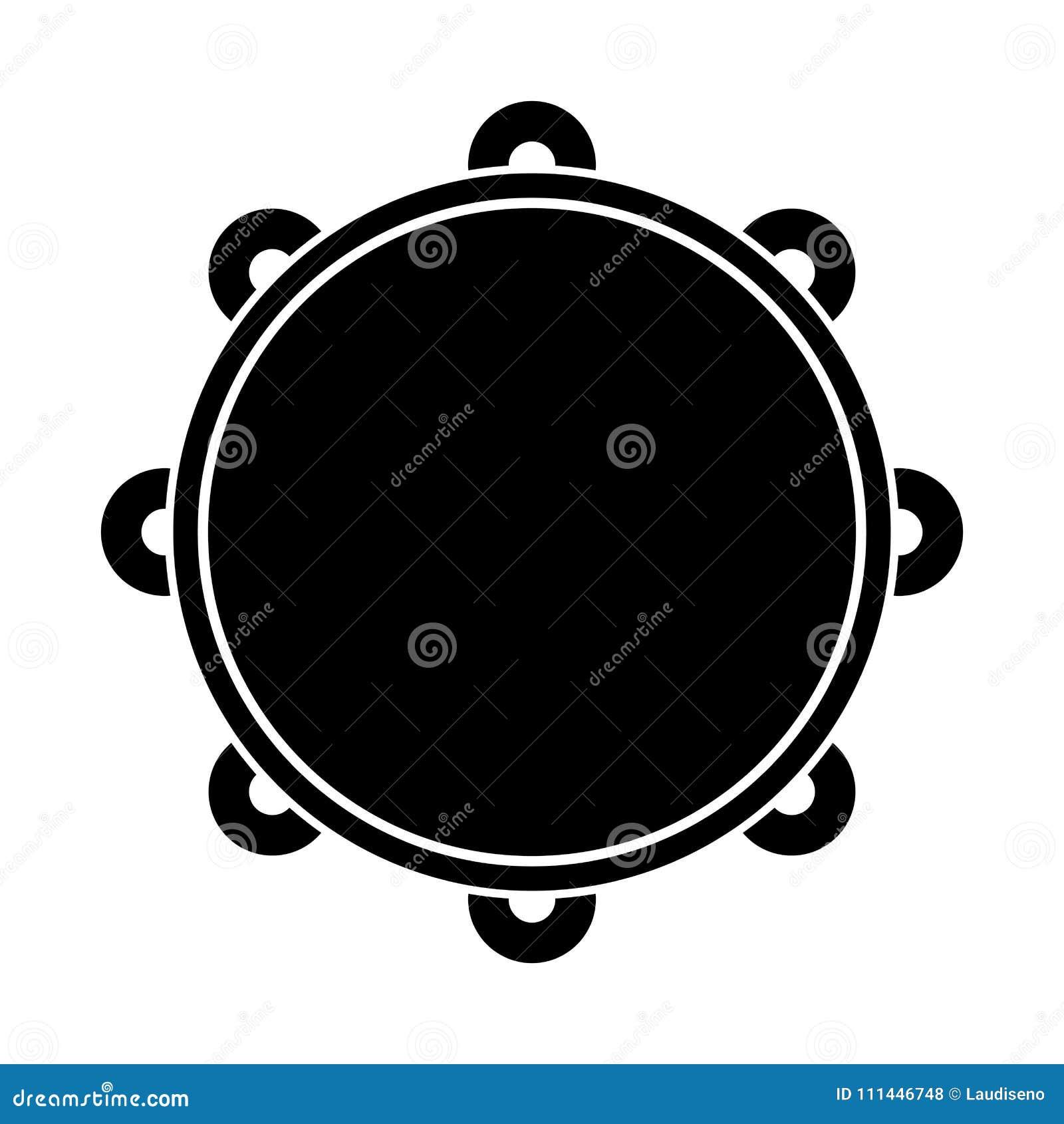 Geïsoleerd tamboerijnpictogram Muzikaal instrument