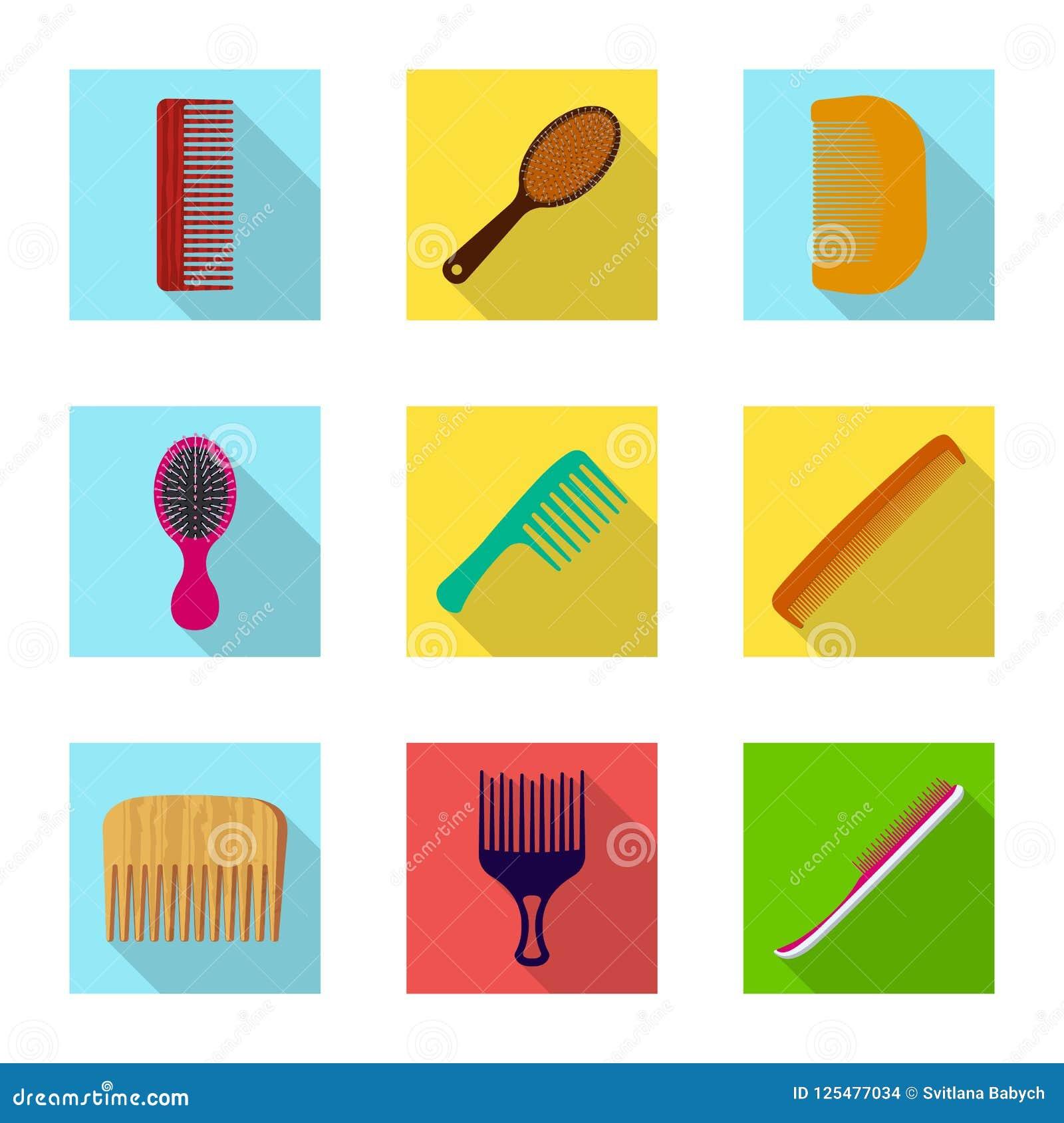 Geïsoleerd voorwerp van borstel en haarteken Reeks van borstel en haarborstelvoorraadsymbool voor Web