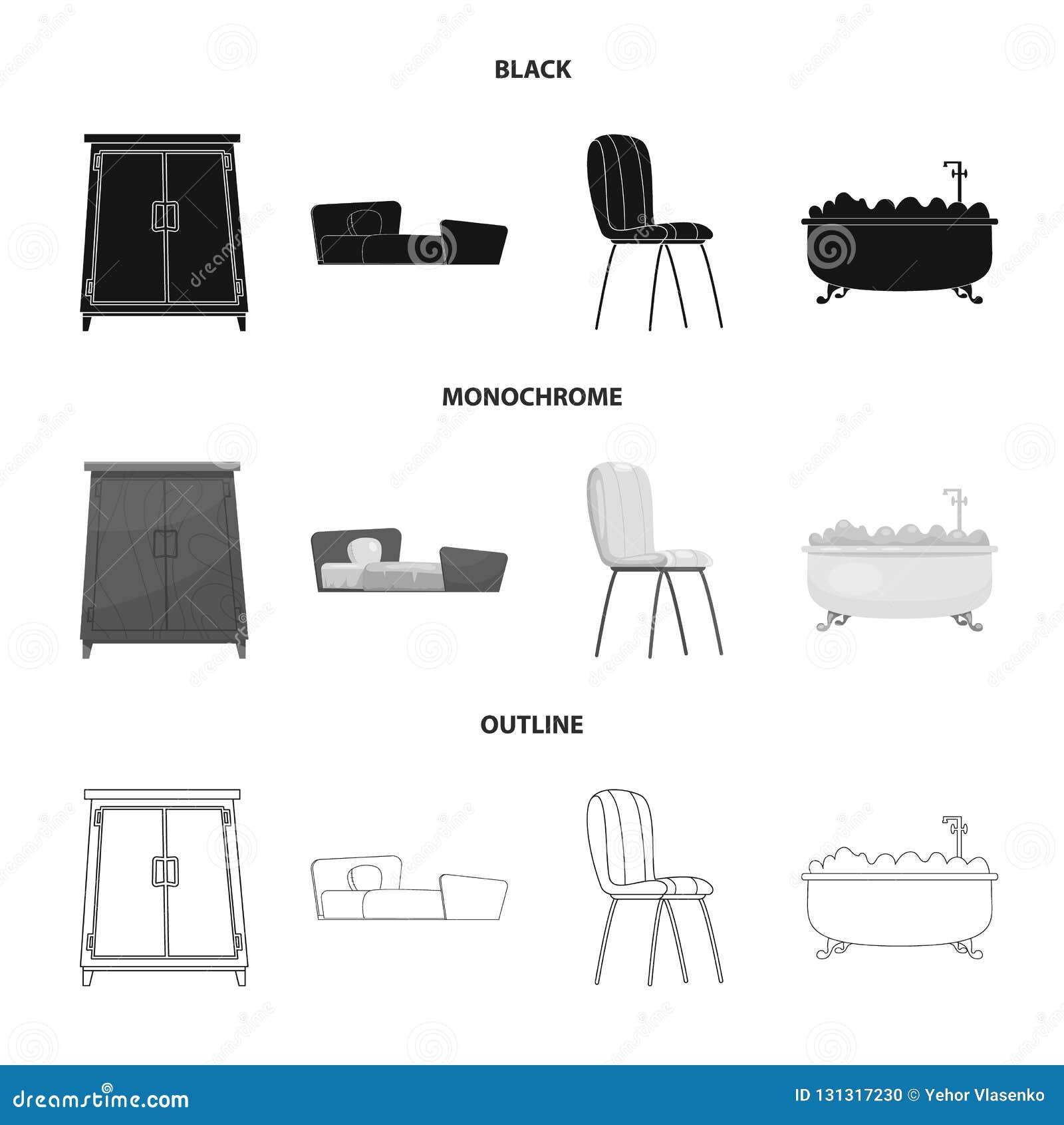 Geïsoleerd voorwerp van meubilair en flatembleem Inzameling van meubilair en huis vectorpictogram voor voorraad