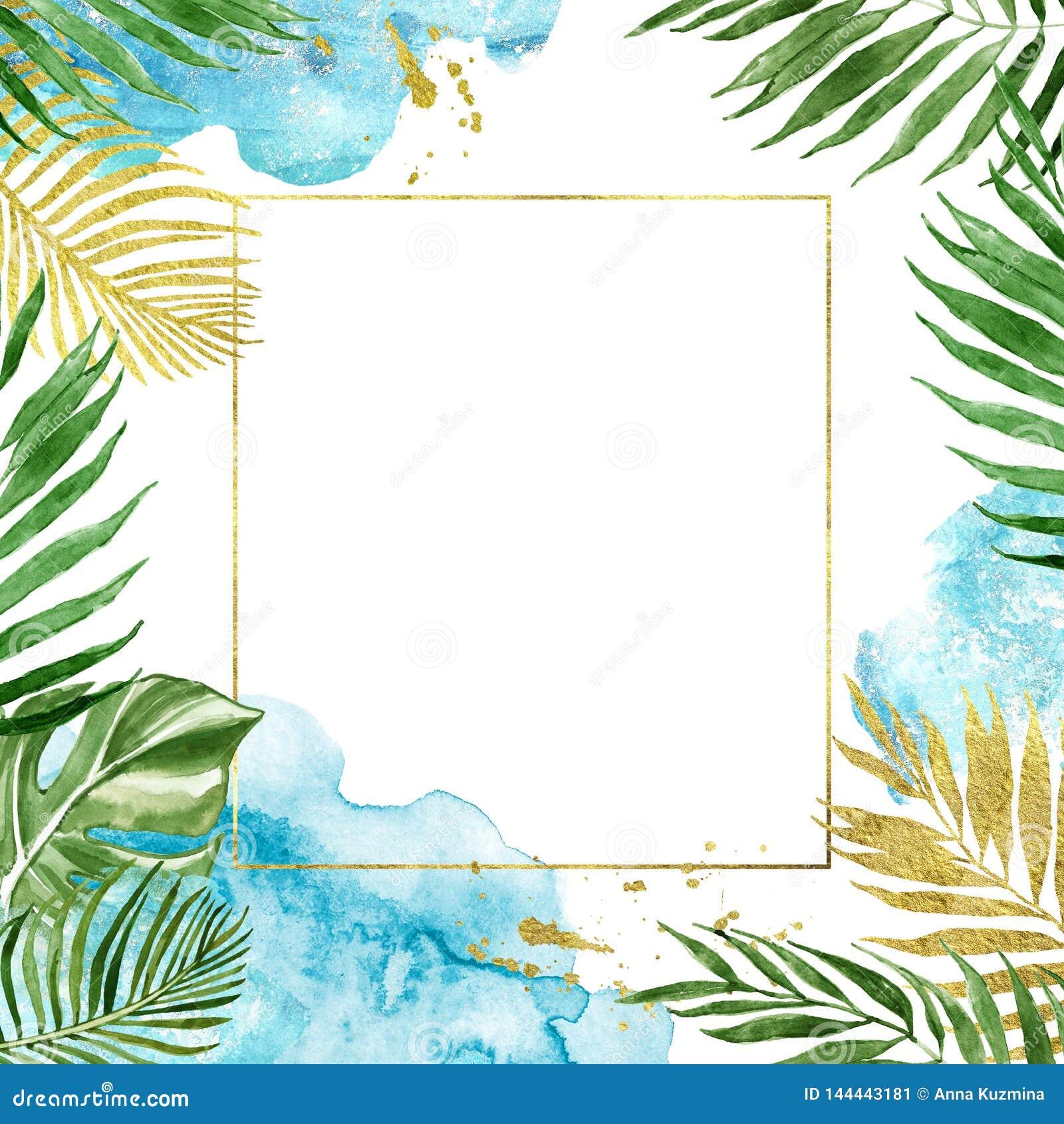 Geïsoleerd waterverf bloemen geometrisch gouden kader met tropische bladeren