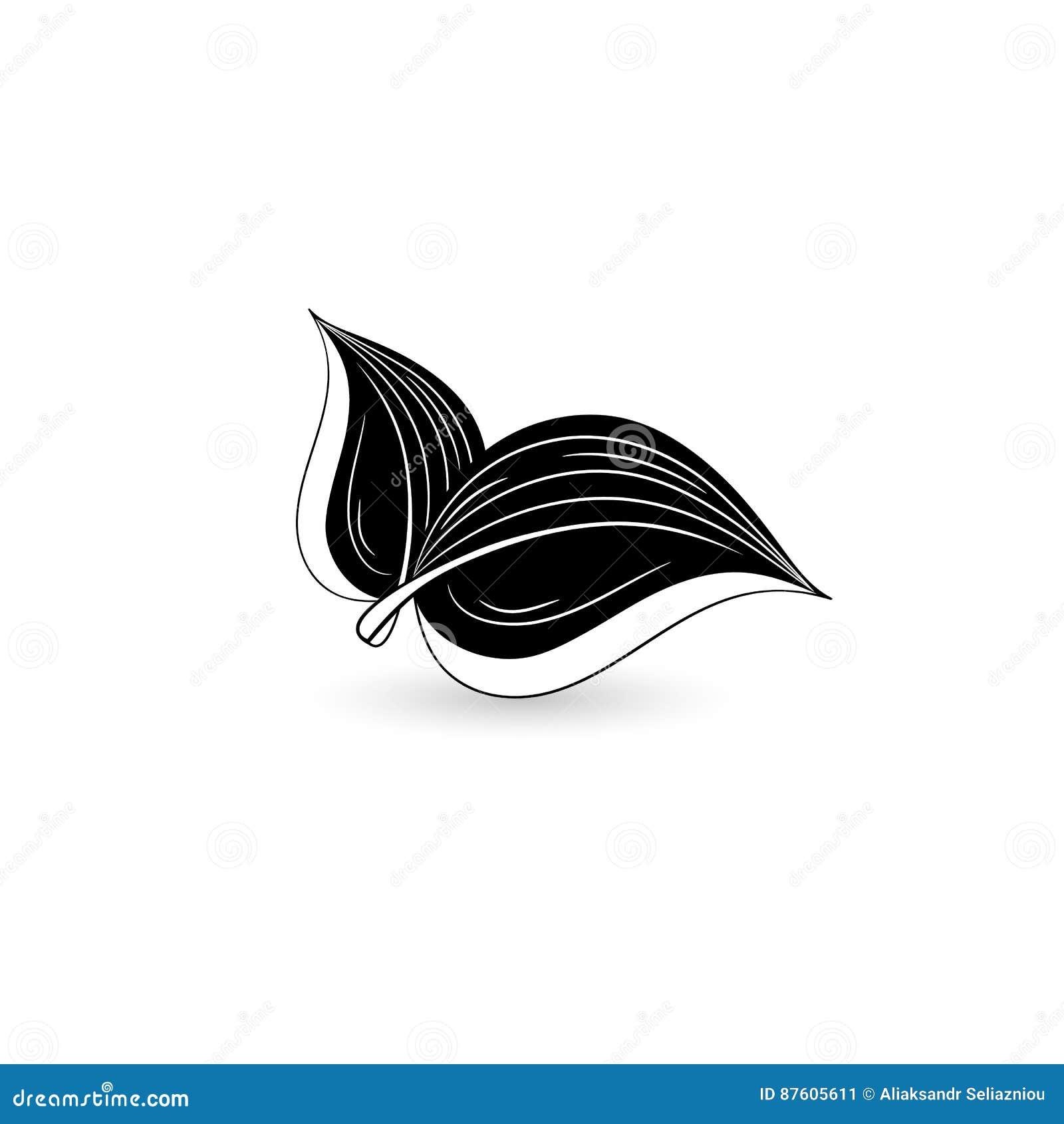 Geïsoleerd zwart blad