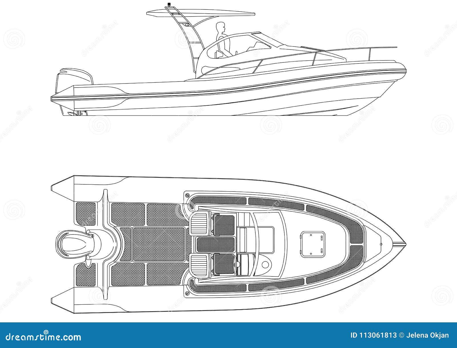 Geïsoleerde bootblauwdruk -