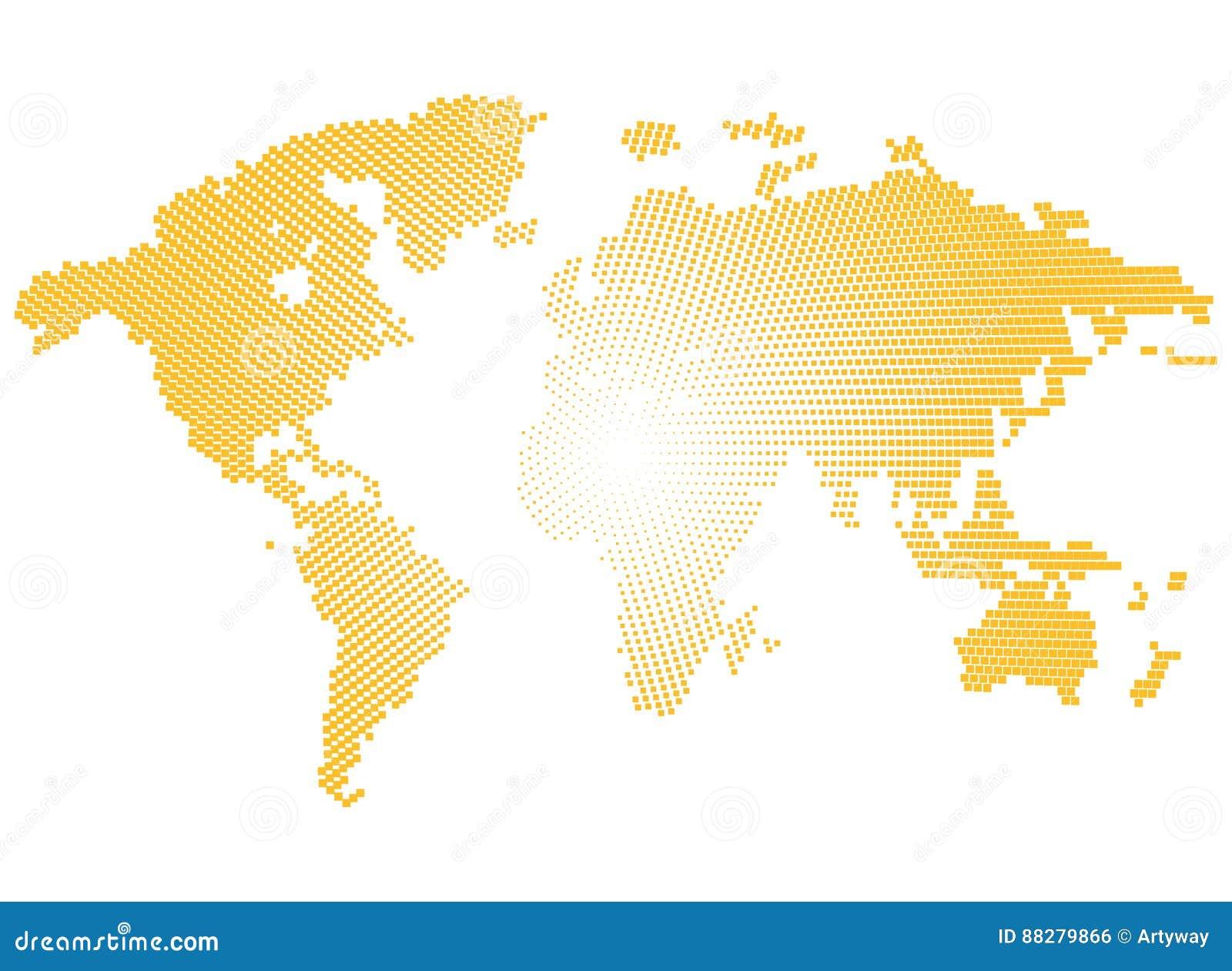 Geïsoleerde gele kleur worldmap van punten op witte achtergrond, aarde vectorillustratie