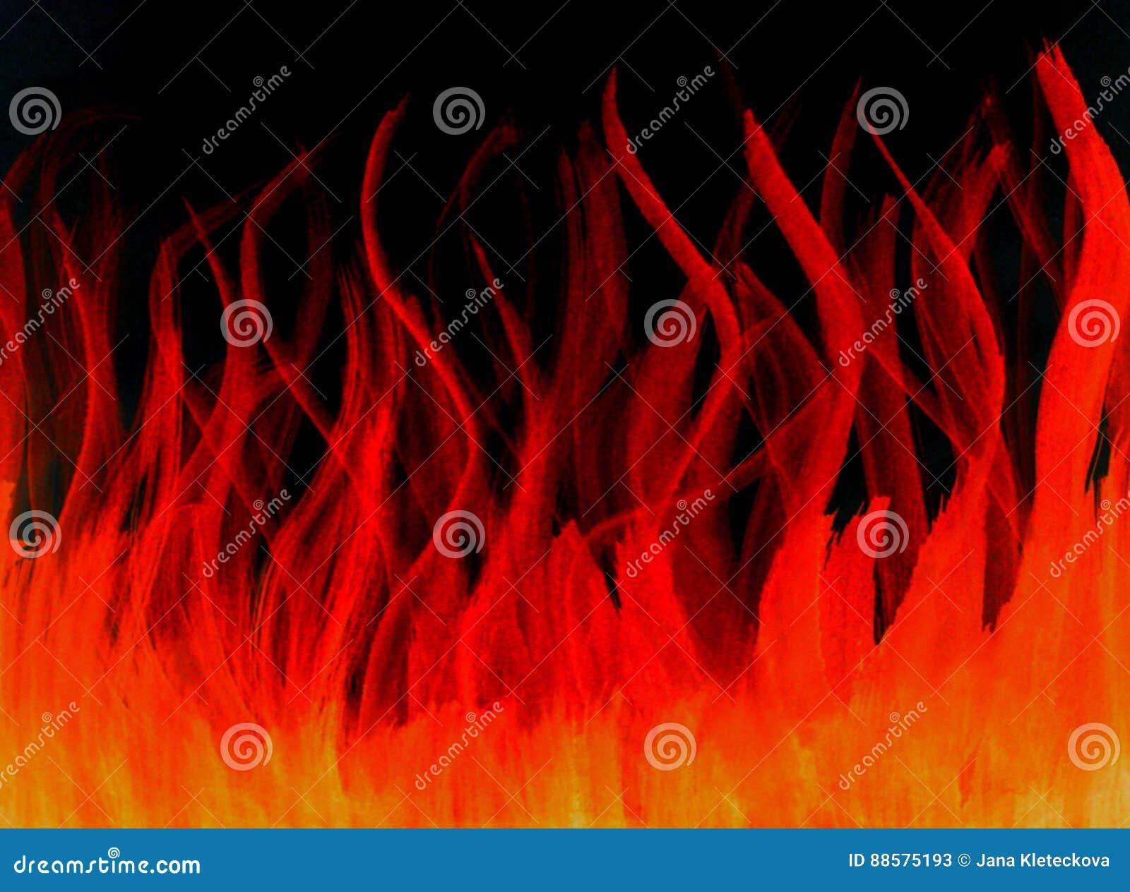 Geïsoleerde getrokken brand vurige hete rode oranje waterverf