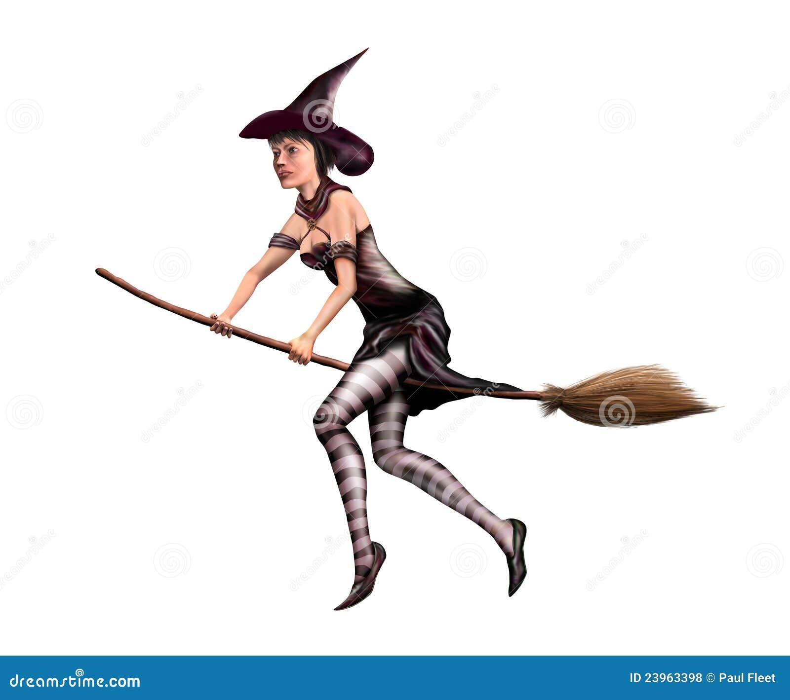 Geïsoleerde heks op een bezemsteel