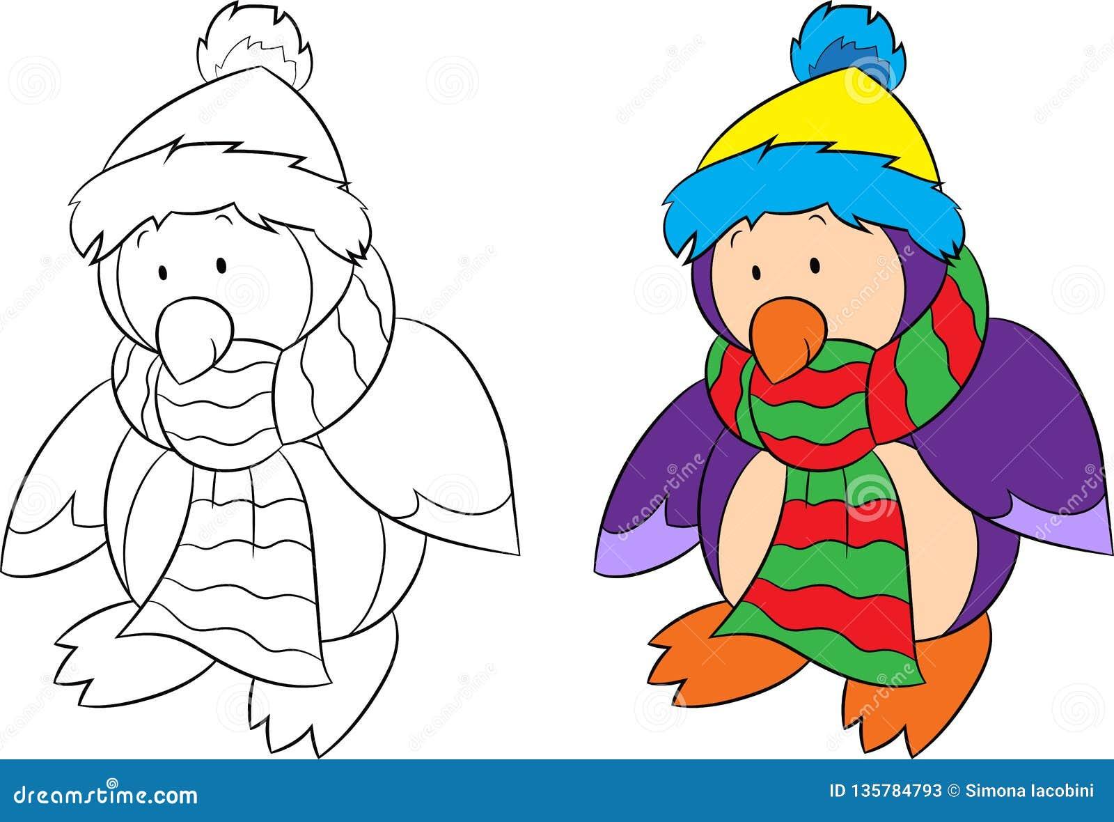 Before and after geïsoleerde illustratie van een pinguïn, zwart-wit en een kleur, voor de kleuringsboek van kinderen of Kerstkaar