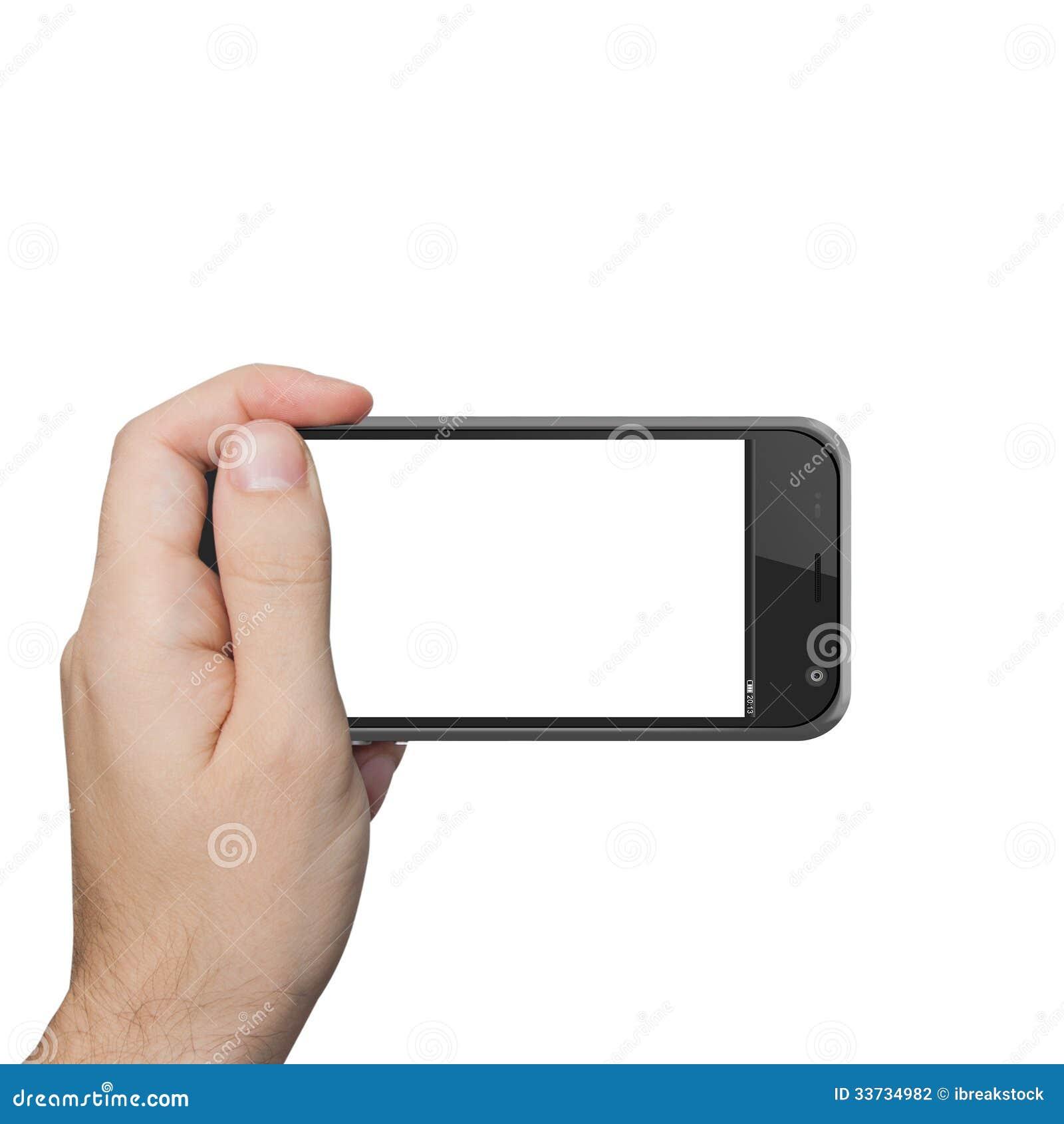 Geïsoleerde mannelijke hand die de aanraking van de telefoontablet houden