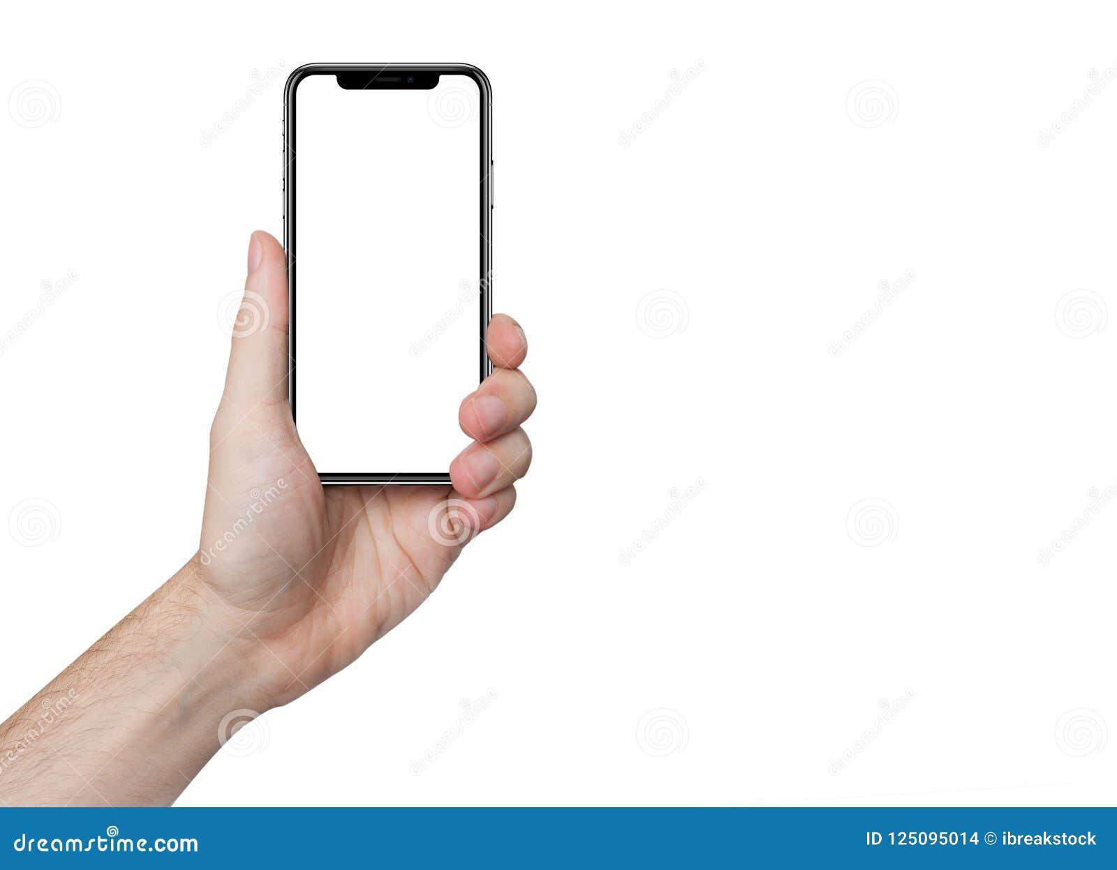 Geïsoleerde mannelijke hand die de telefoon geïsoleerd houden