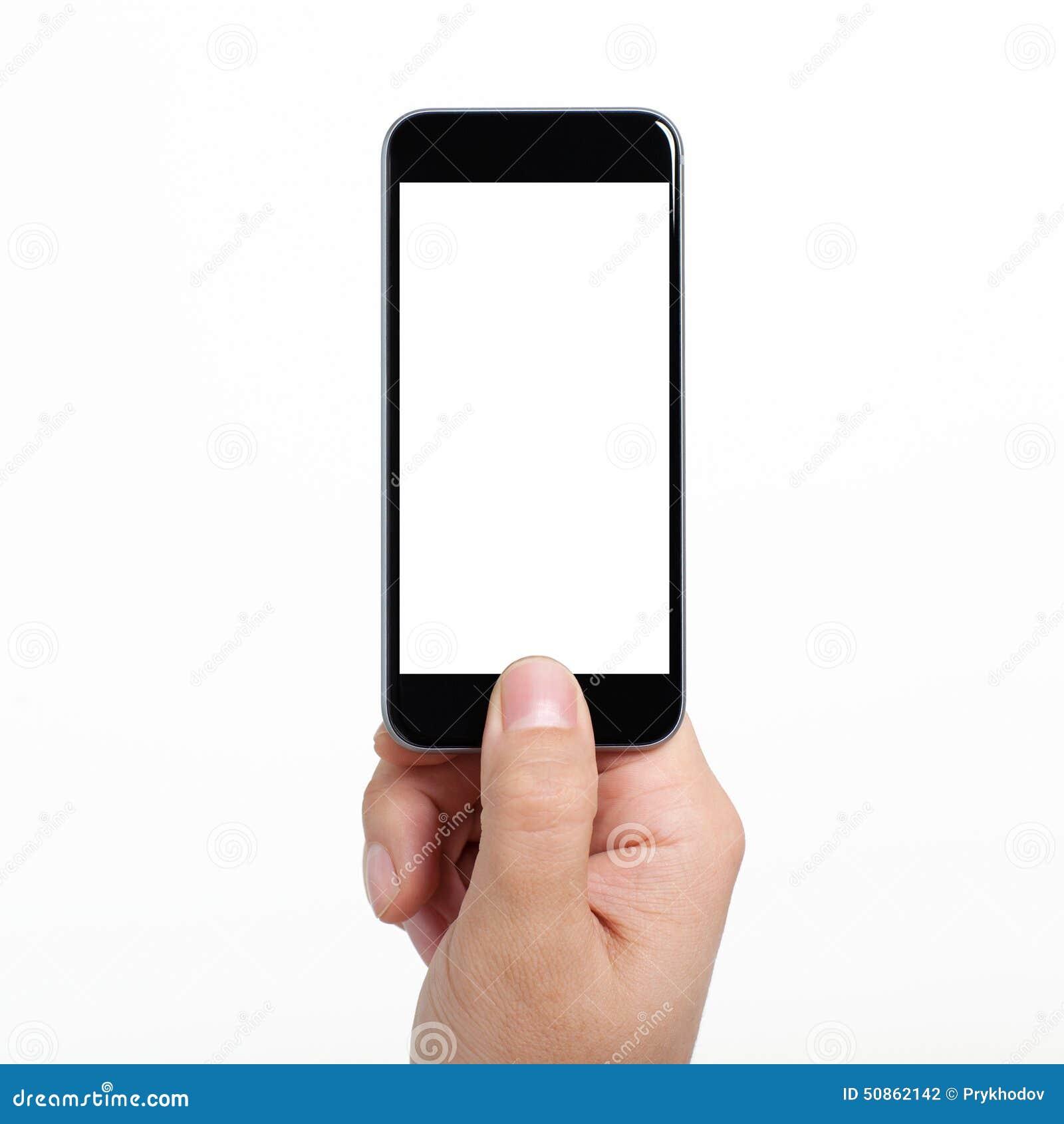 Ge soleerde mensenhand die een telefoon met het wit scherm houden stock foto afbeelding 50862142 - Wit scherm ...