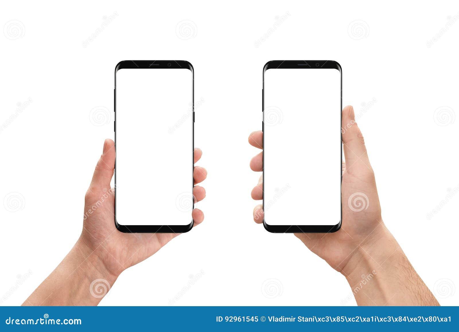 Geïsoleerde mobiele telefoons in vrouw en man hand