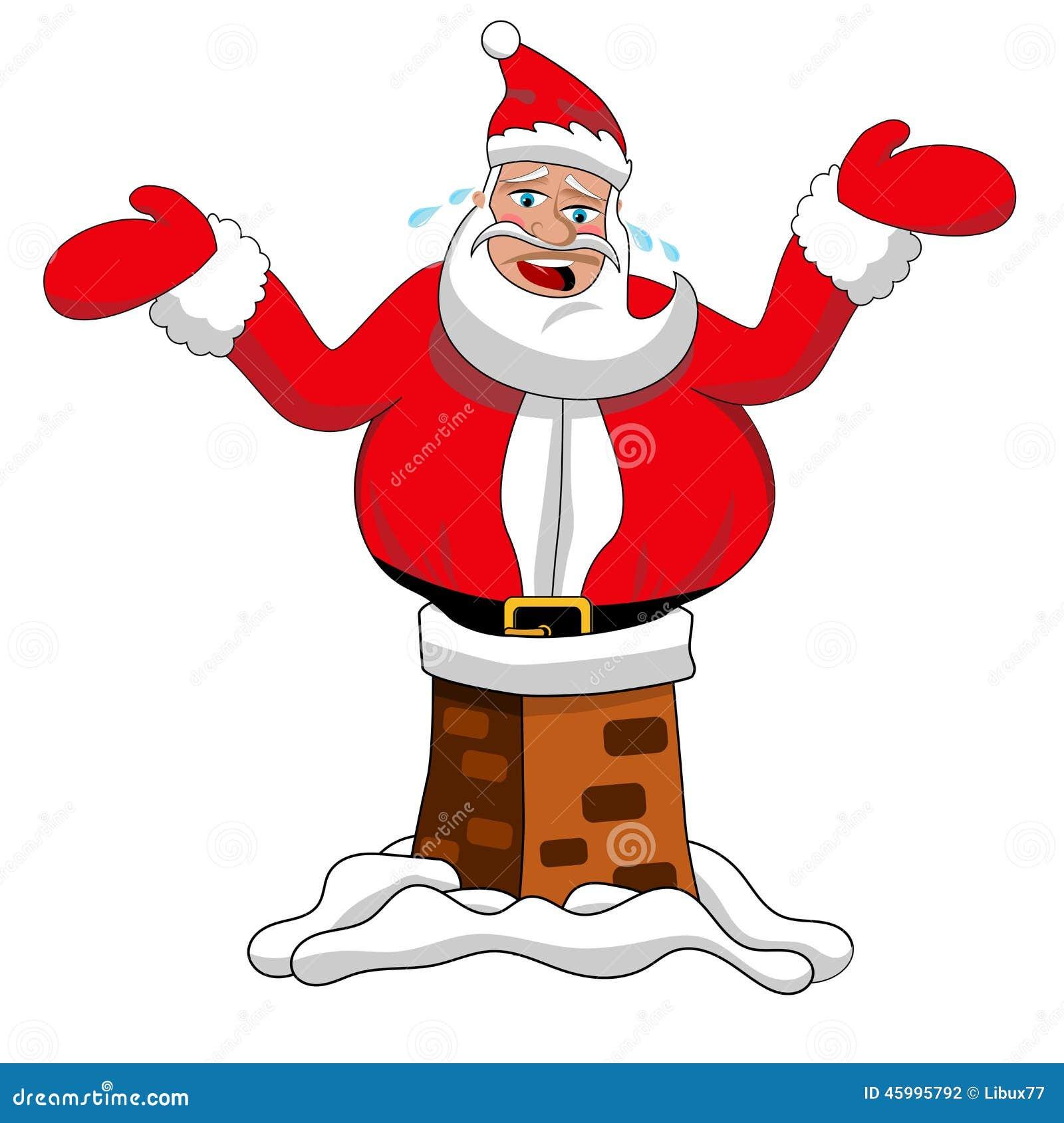 Geïsoleerde Santa Claus Stuck Chimney Roof Xmas