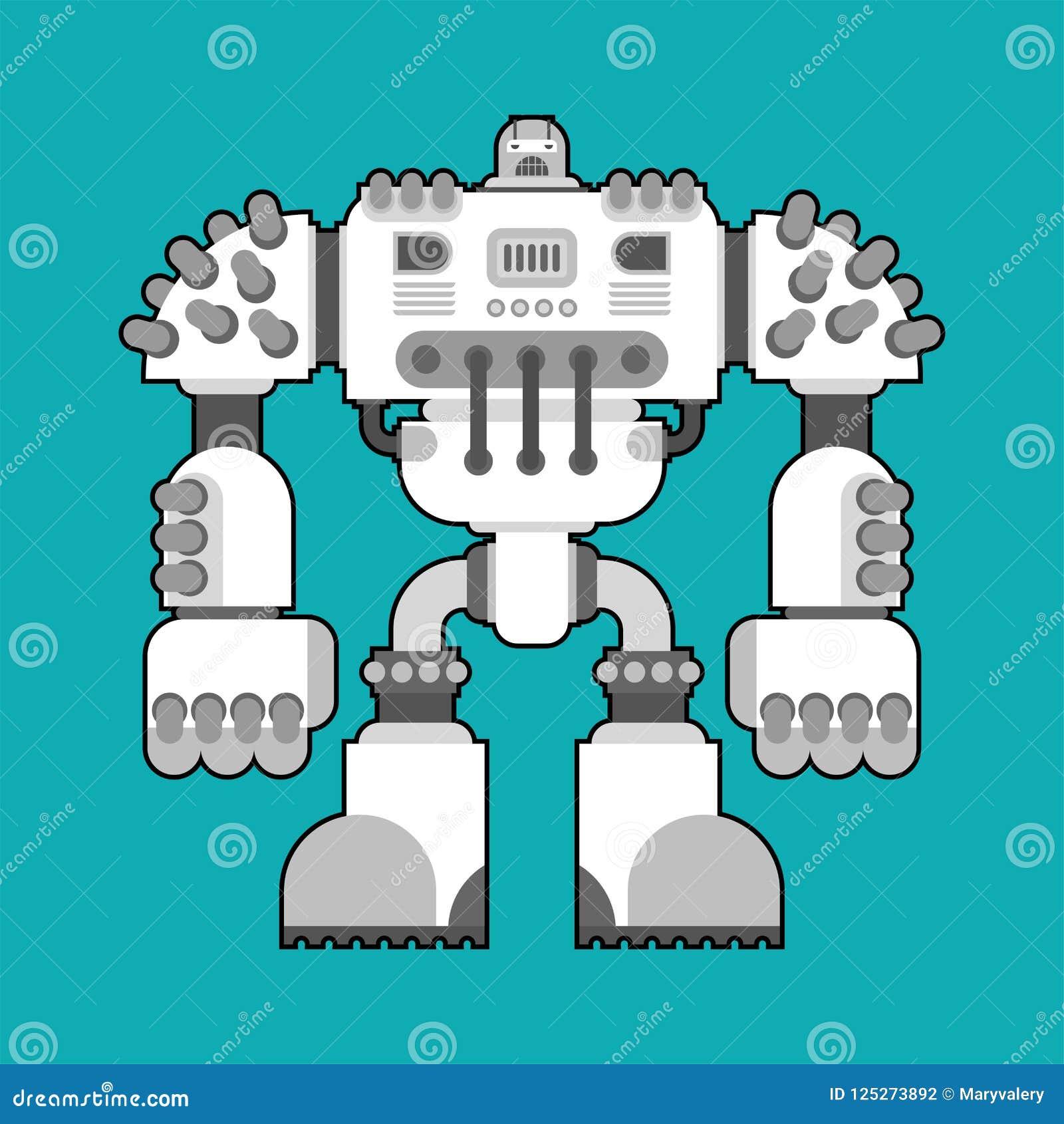 Geïsoleerde slagrobot De toekomst van de Cyborgstrijder Vector Illustratio