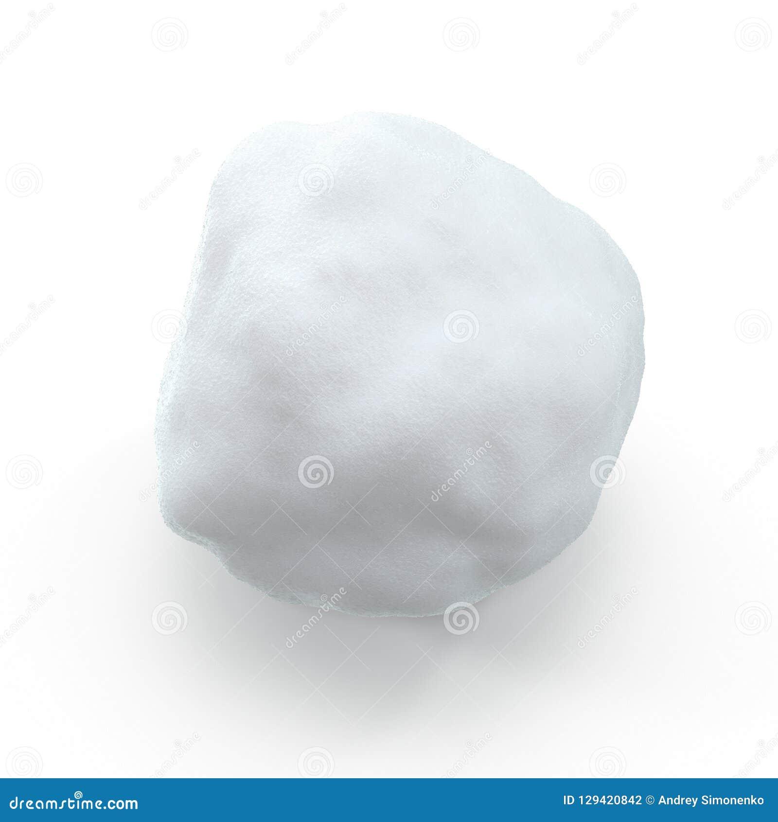 Geïsoleerde Sneeuwbal op Witte Achtergrond 3D Illustratie