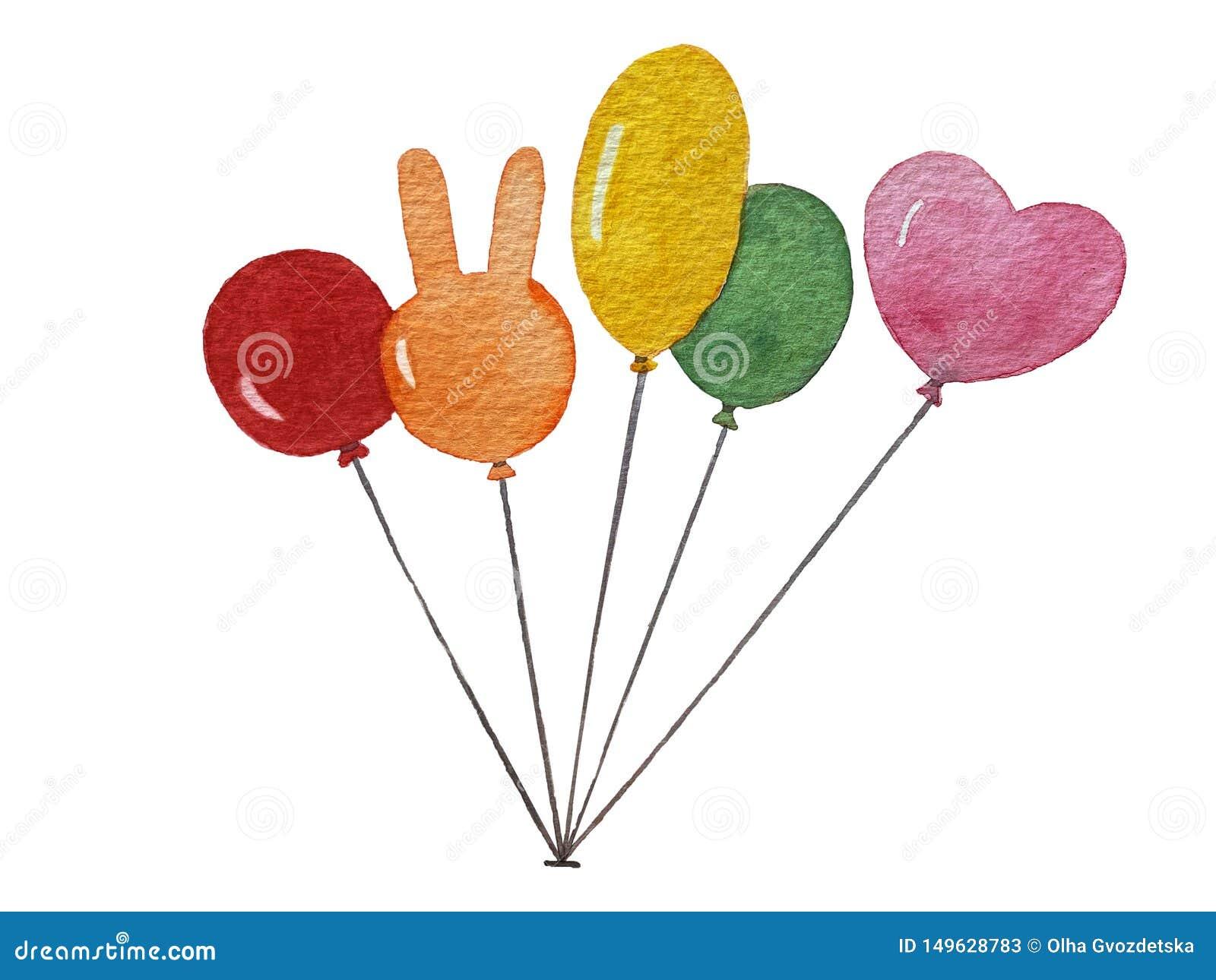 Geïsoleerde waterverf kleurrijke ballons op witte achtergrond