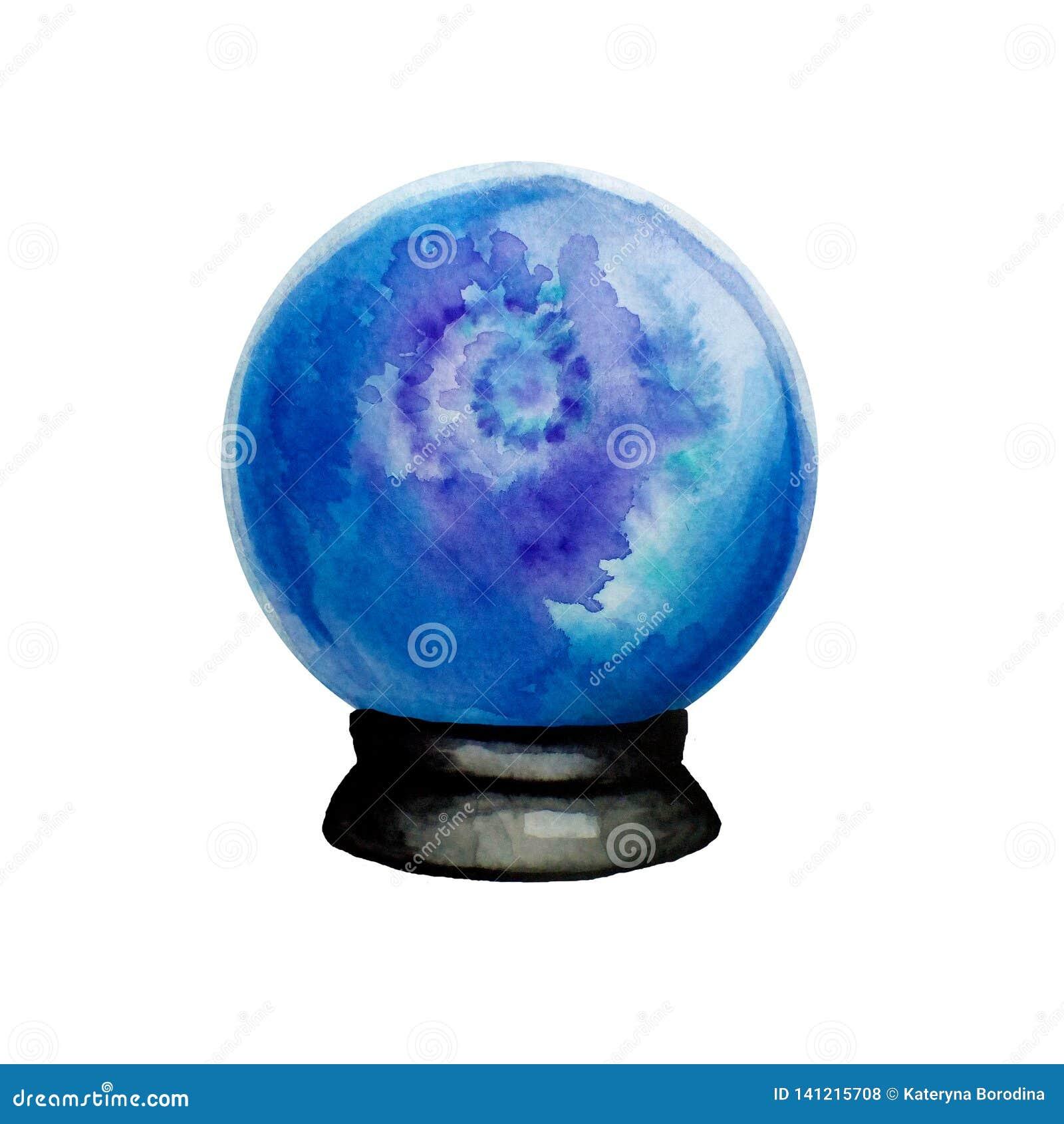 Geïsoleerde waterverfhand getrokken illustratie van de magische bal van het glasfortuin