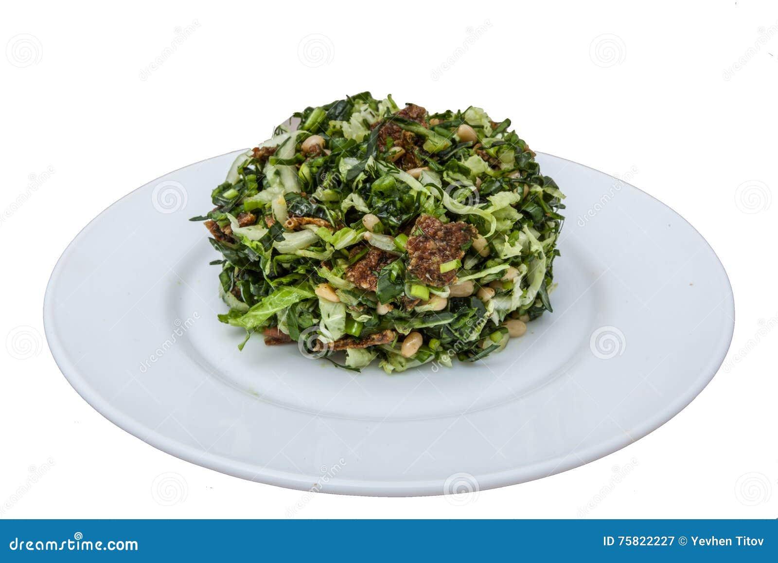 Geïsoleerdea salade op plaat