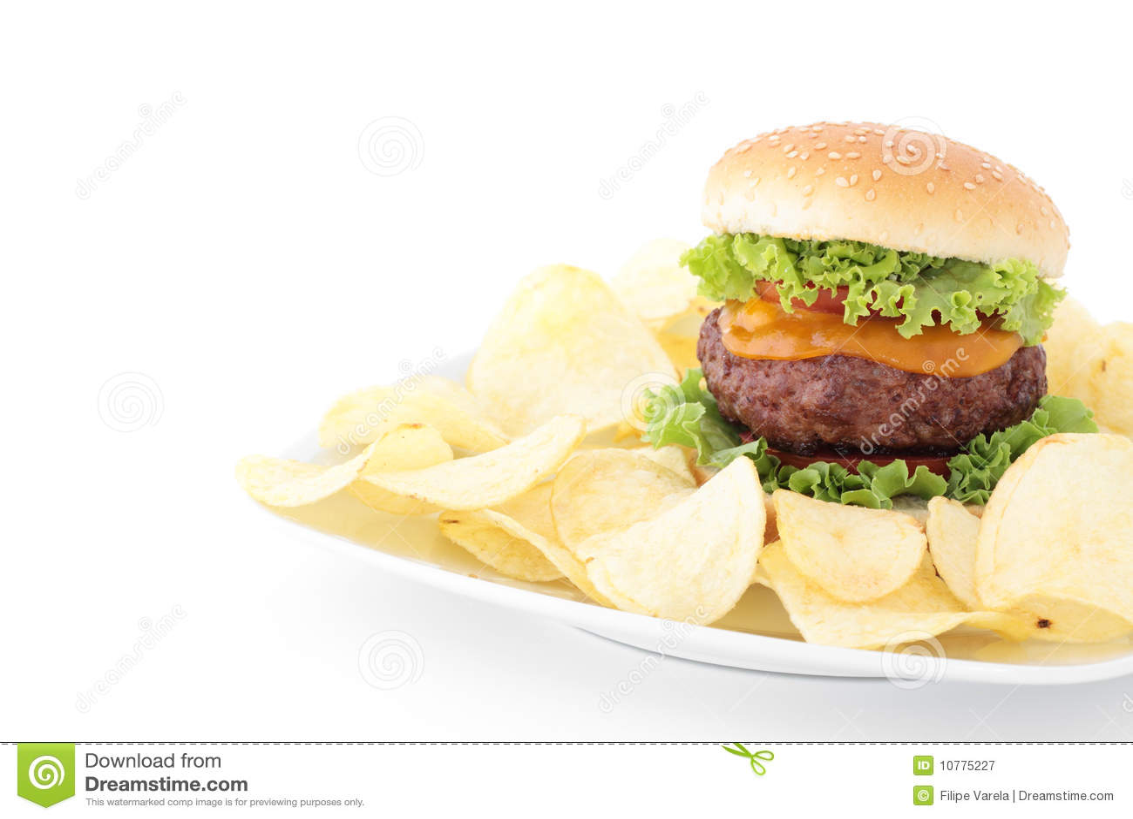Geïsoleerded hamburger en gebraden gerechten