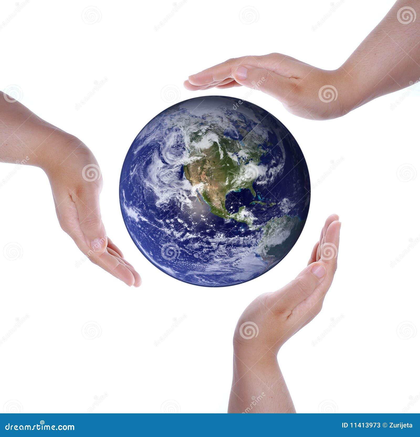 Geïsoleerdej witte handen en Aarde