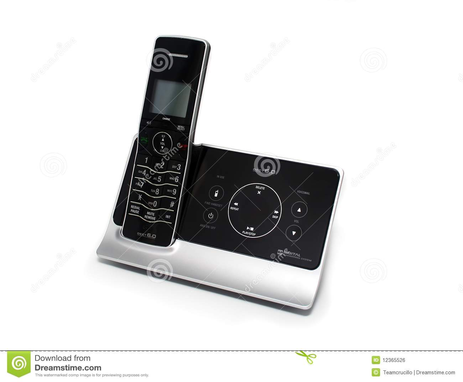 Geïsoleerden Zwarte en Zilveren Draadloze Telefoon