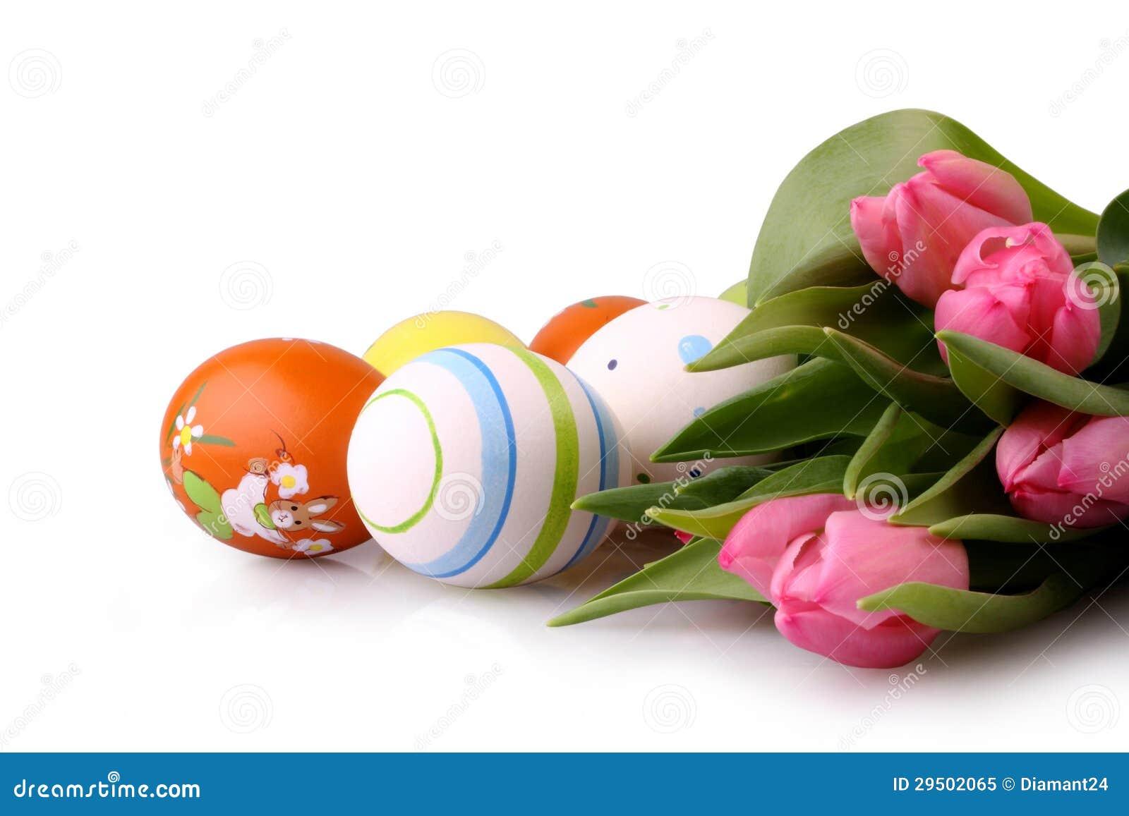 Geïsoleerdeo paaseieren en roze tulpen