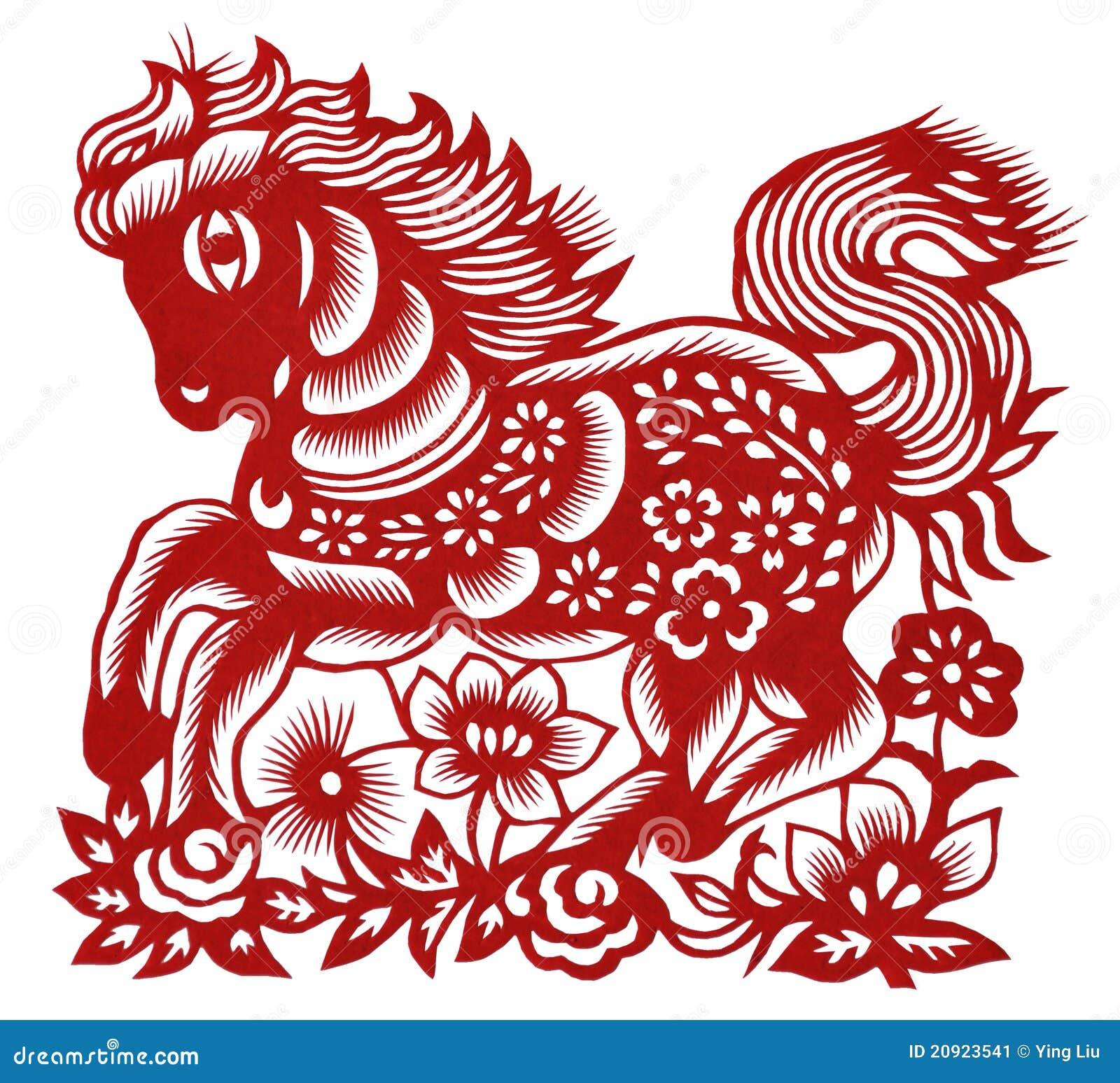 Geïsoleerdi Chinees papier-Scherp Paard