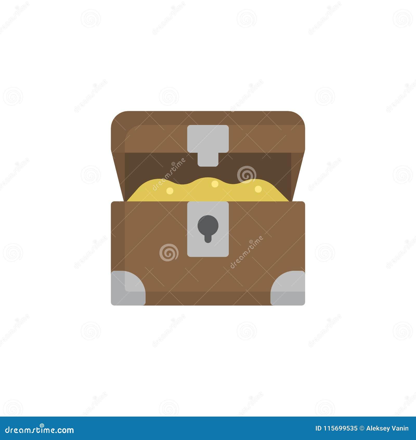 Geöffnete flache Ikone der Schatztruhe