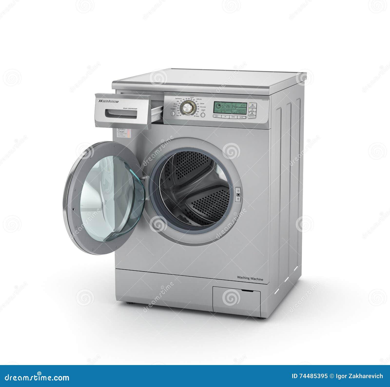 geöffnete moderne waschmaschine in der metallischen farbe stock, Attraktive mobel
