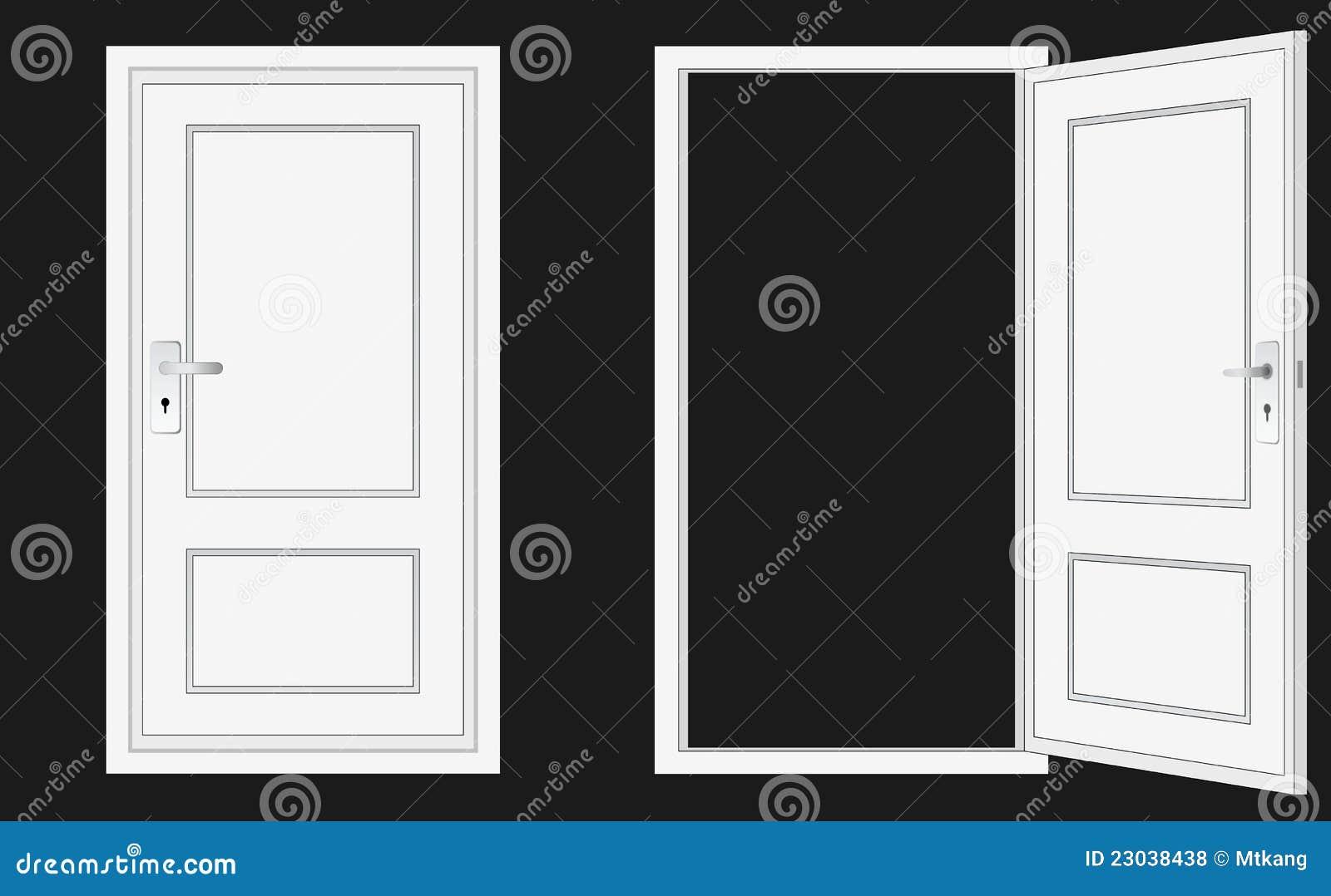Geschlossene tür  Geöffnete Und Geschlossene Tür Lizenzfreie Stockfotos - Bild: 23038438