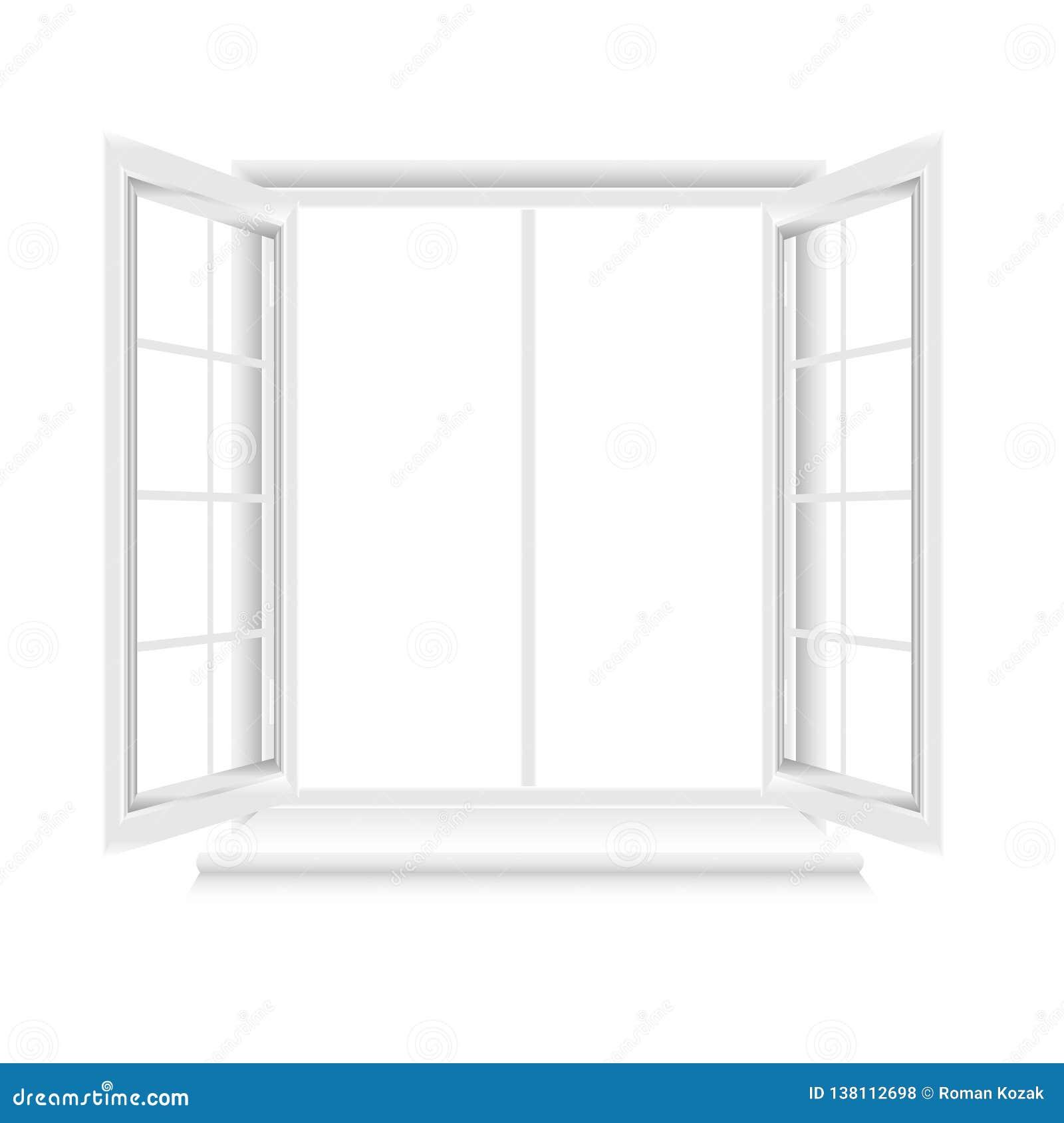 Geöffneter weißer Fensterrahmen auf weißem Hintergrund