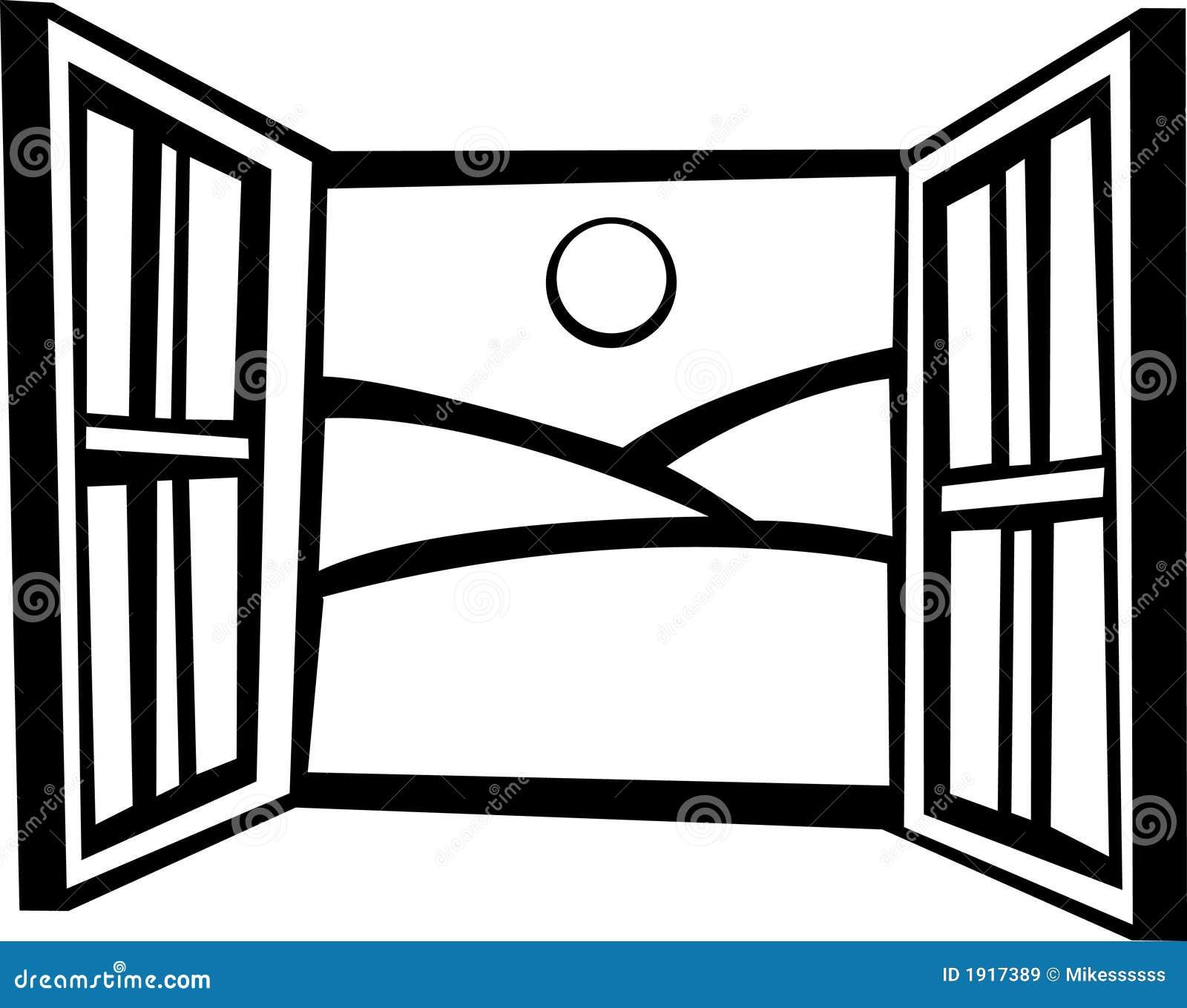 Fenster clipart schwarz weiß  Geöffnetes Fenster Lizenzfreie Stockbilder - Bild: 1917389