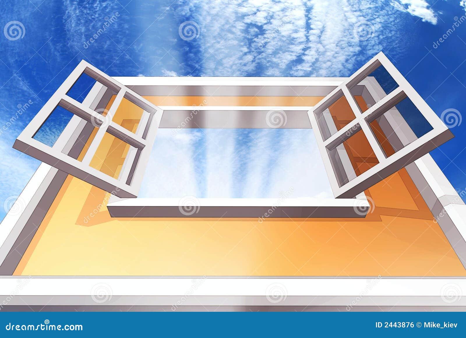 ge ffnetes fenster lizenzfreies stockbild bild 2443876. Black Bedroom Furniture Sets. Home Design Ideas