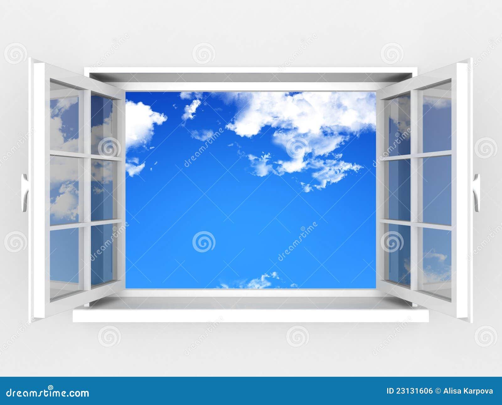 Geöffnetes Fenster gegen eine weiße Wand und einen bewölkten Himmel