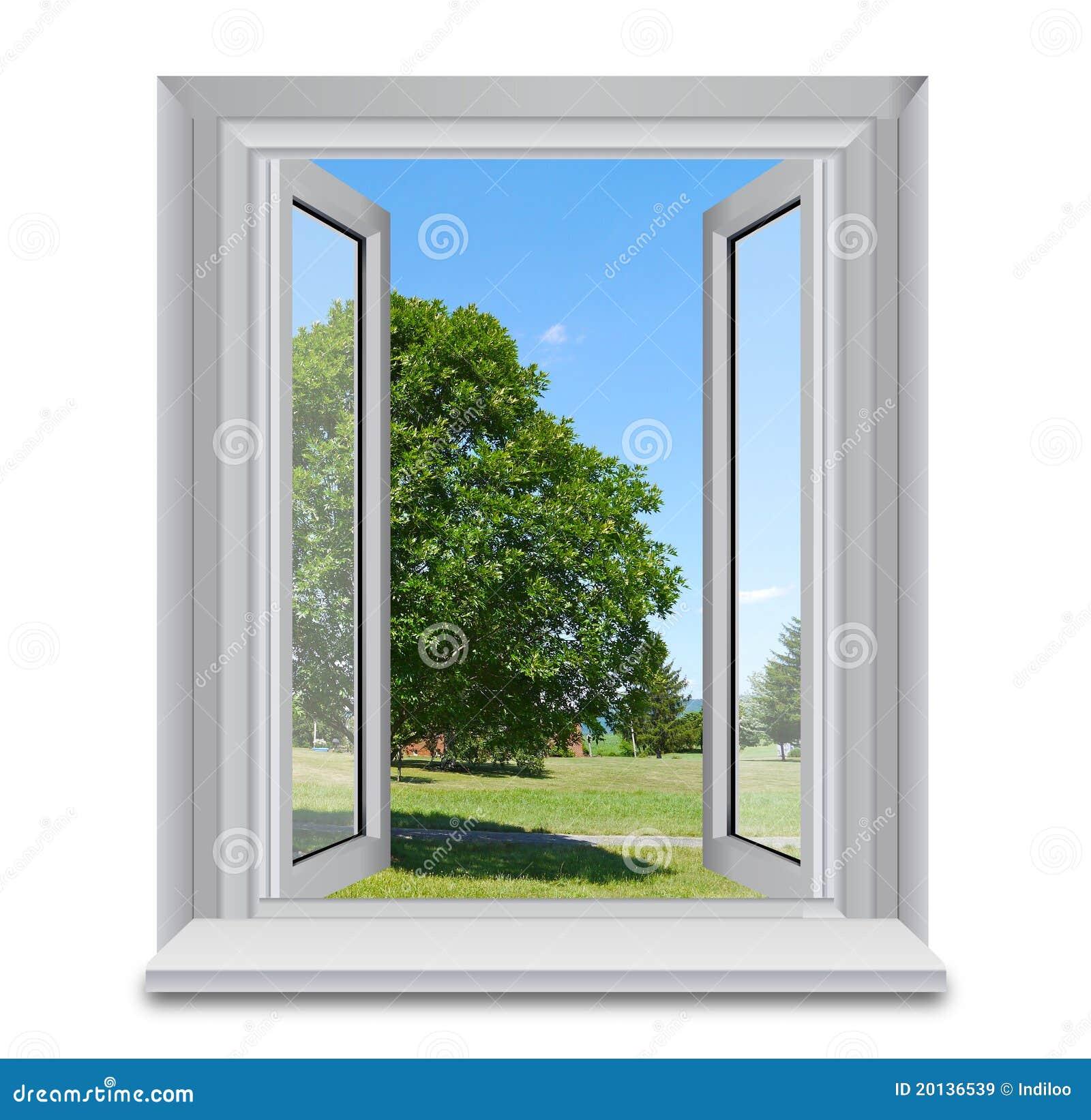 Ge ffnetes fenster und landschaft lizenzfreie stockbilder for Fenster 3d zeichnen