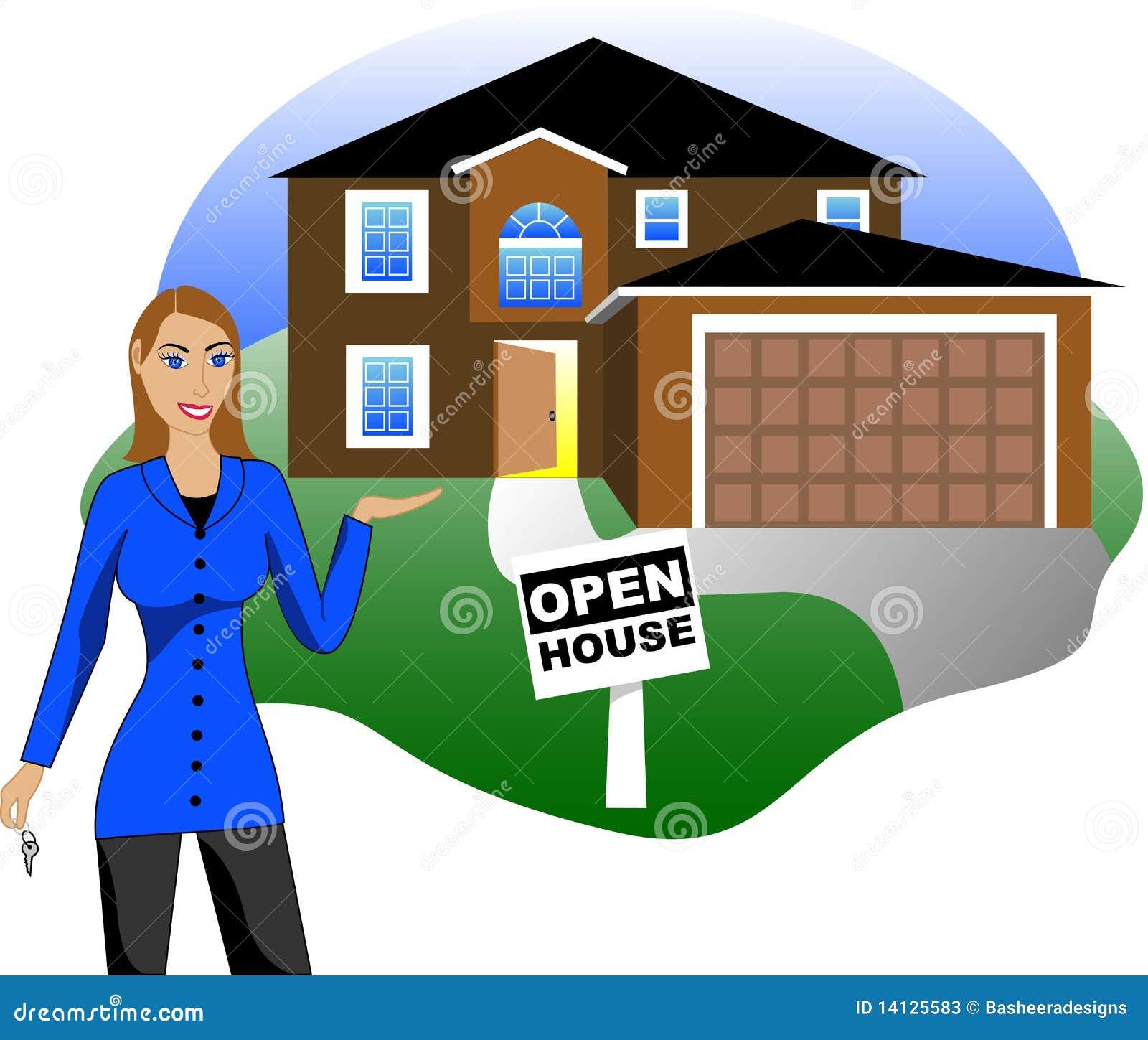 Geöffnetes Haus mit Mittel